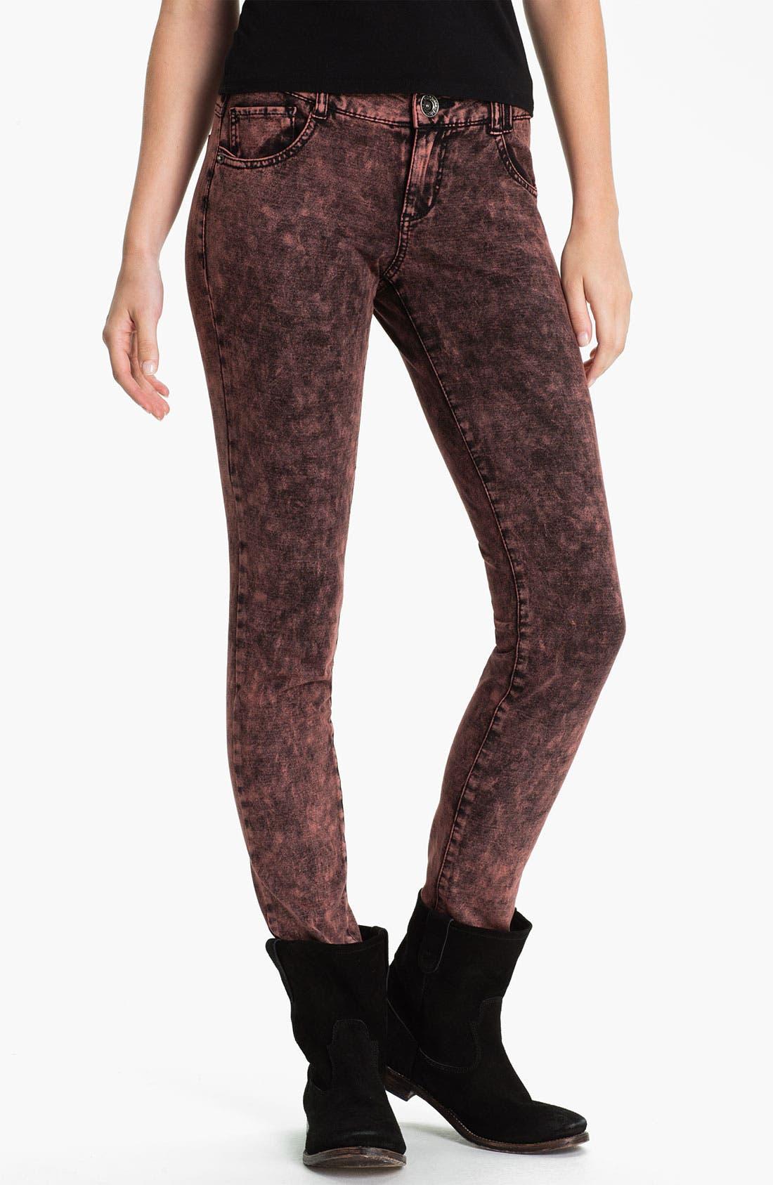 Main Image - Jolt Acid Wash Ponte Skinny Pants (Juniors)
