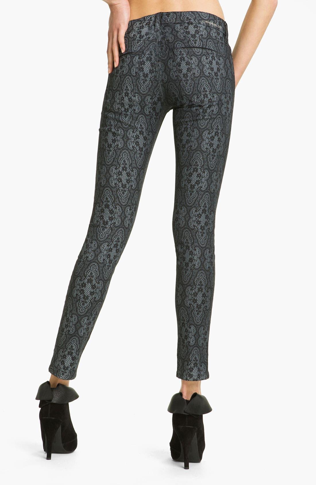 Alternate Image 2  - Current/Elliott Print Stretch Skinny Jeans (Black Antique)