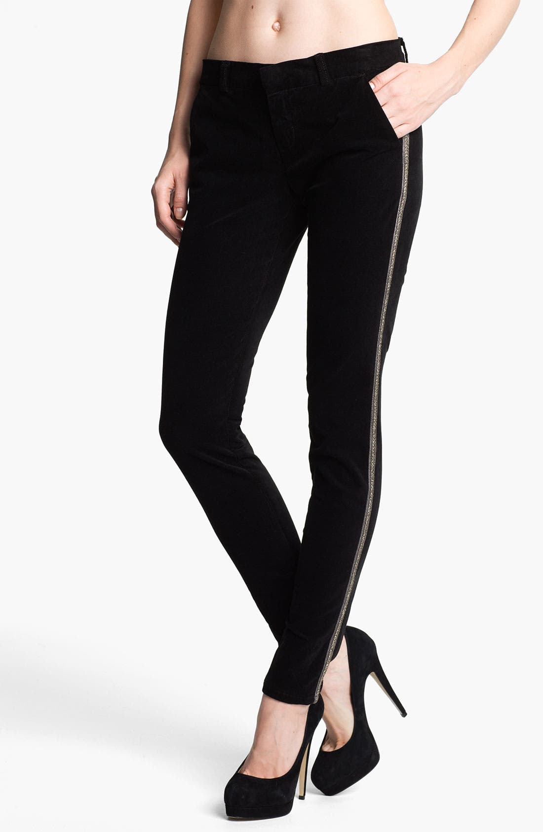 Alternate Image 1 Selected - Current/Elliott 'The Crop Tux' Velvet Skinny Pants