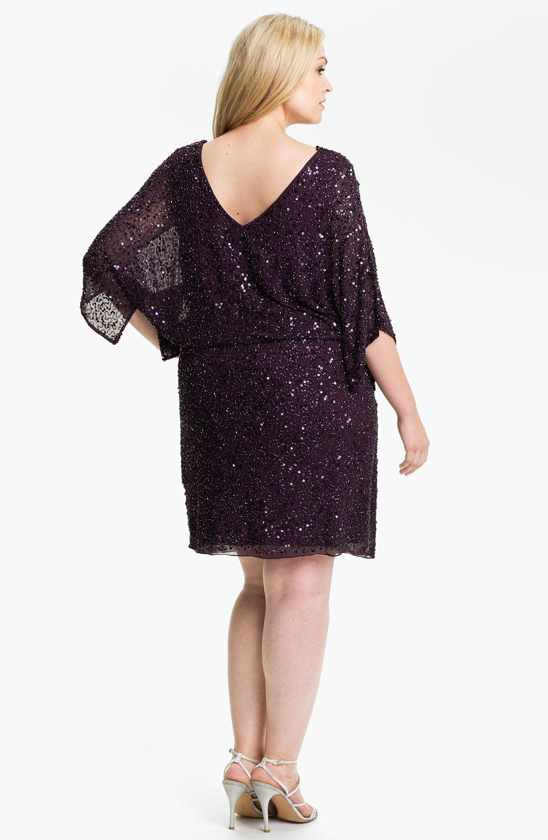 Alternate Image 2  - Pisarro Nights Beaded Kimono Sleeve Dress (Plus)
