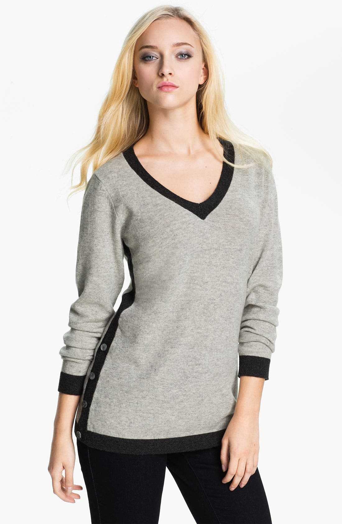 Alternate Image 1 Selected - Beatrix Ost Tipped V-Neck Cashmere Sweater