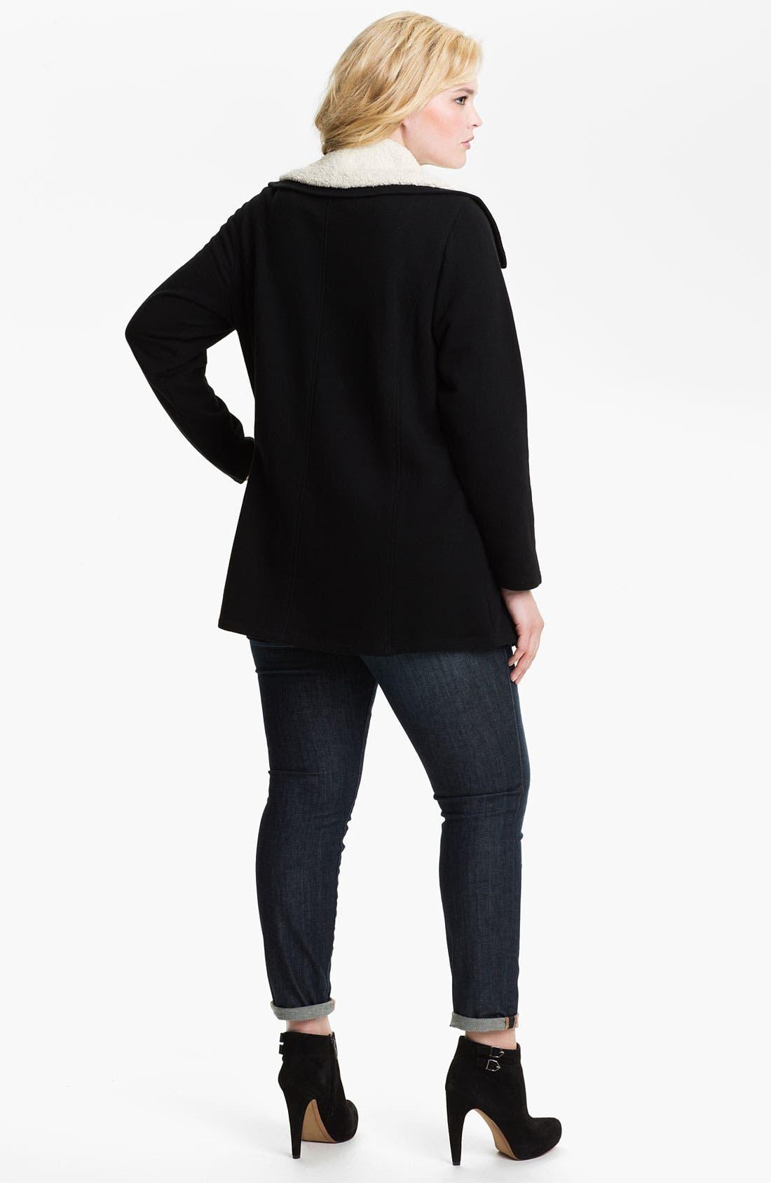 Alternate Image 4  - Sejour Fleece Collar French Terry Jacket (Plus)