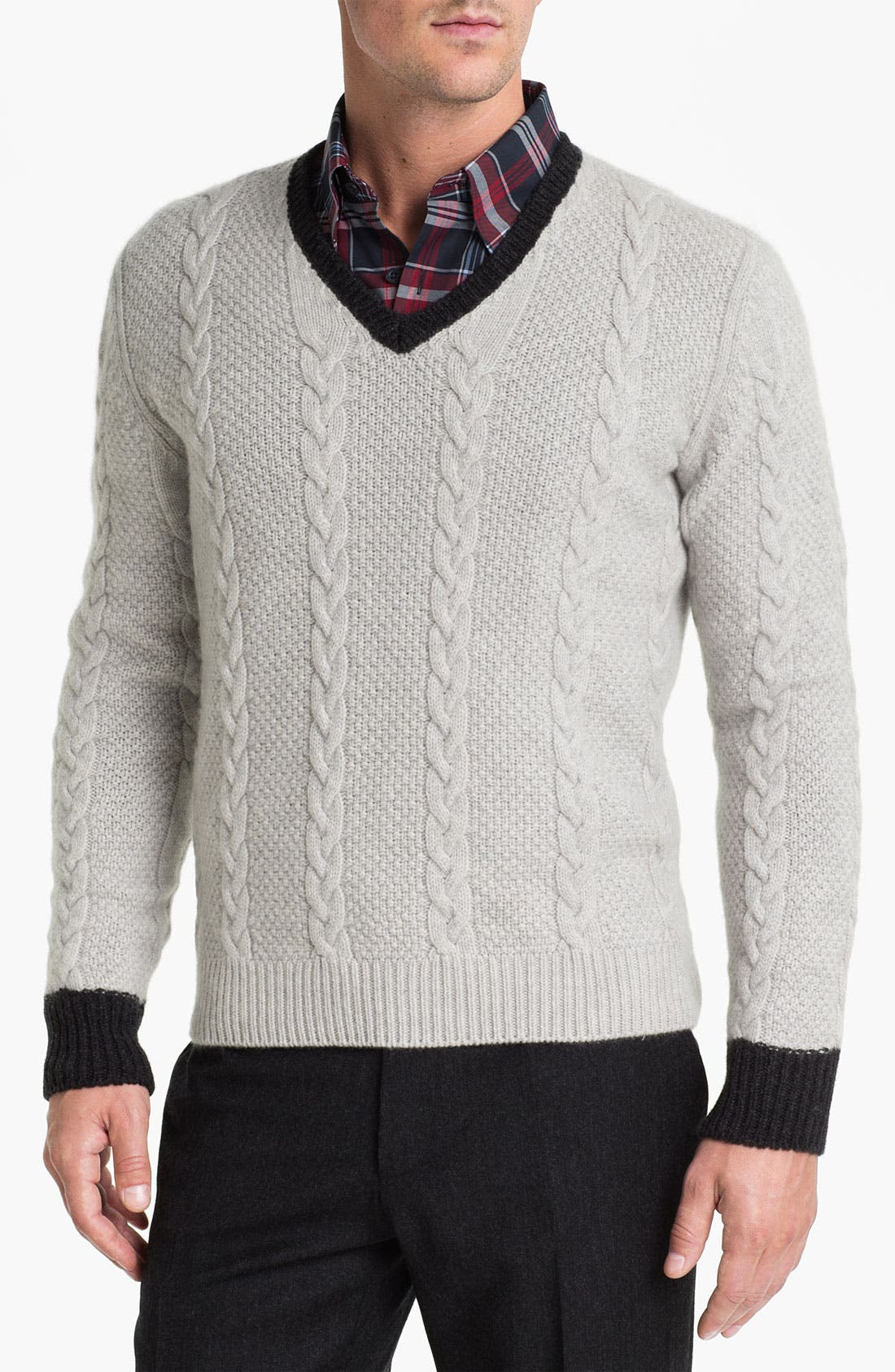 Main Image - Fausto Reali Vannucci Cable Knit Wool & Cashmere Sweater