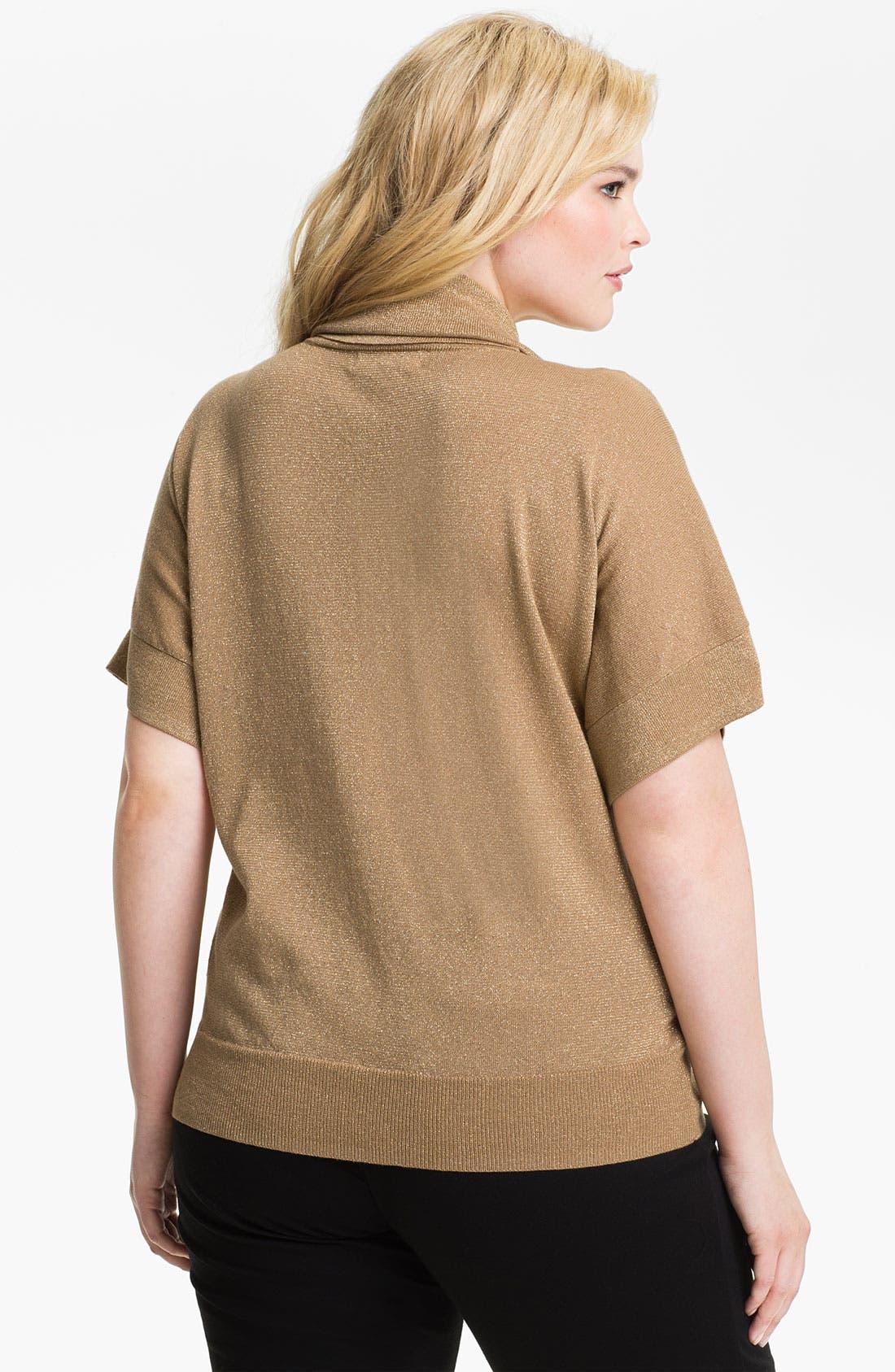 Alternate Image 2  - MICHAEL Michael Kors Metallic Cowl Neck Sweater (Plus)