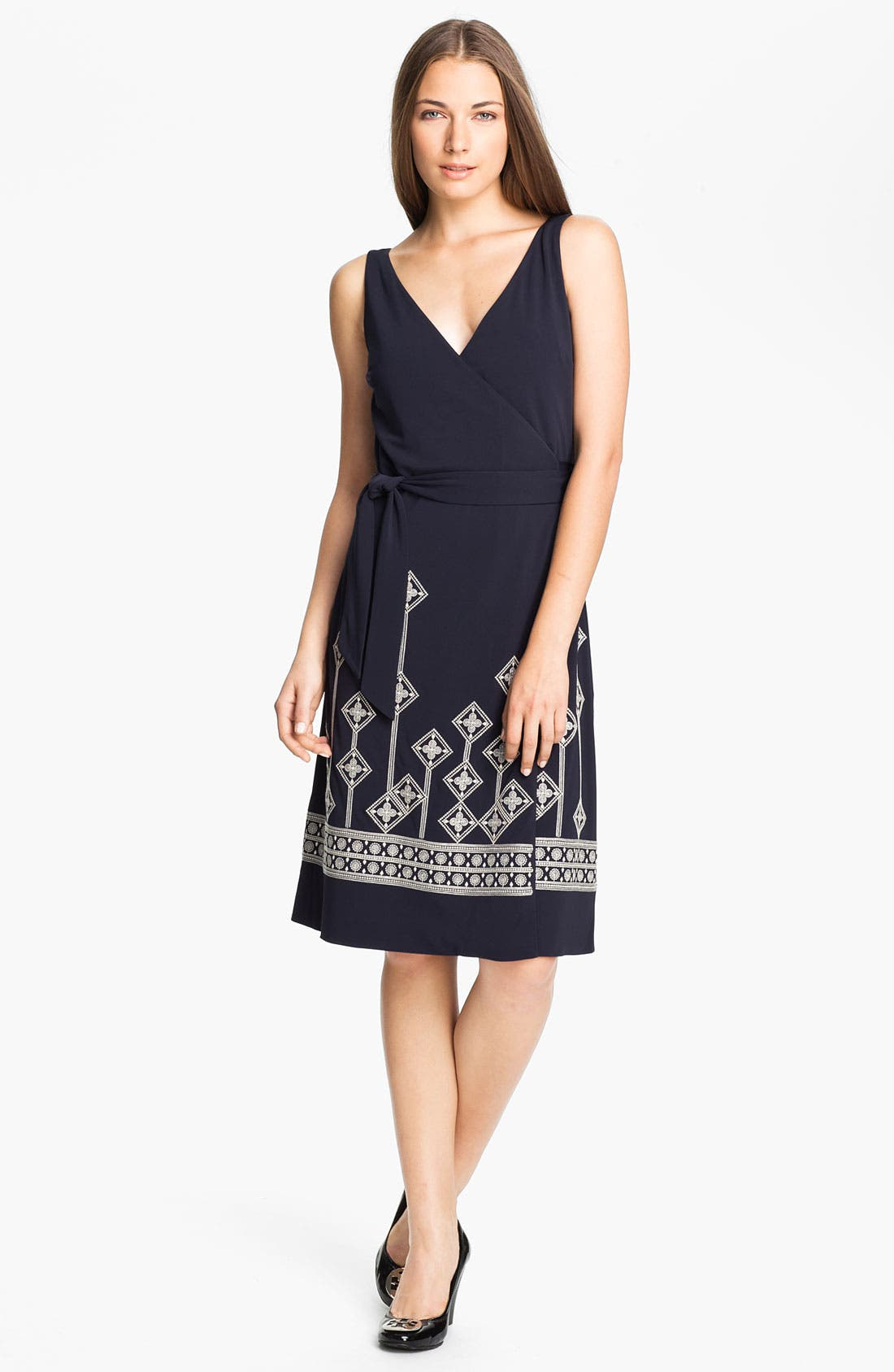 Main Image - Tory Burch 'Reena' Embroidered Wrap Dress