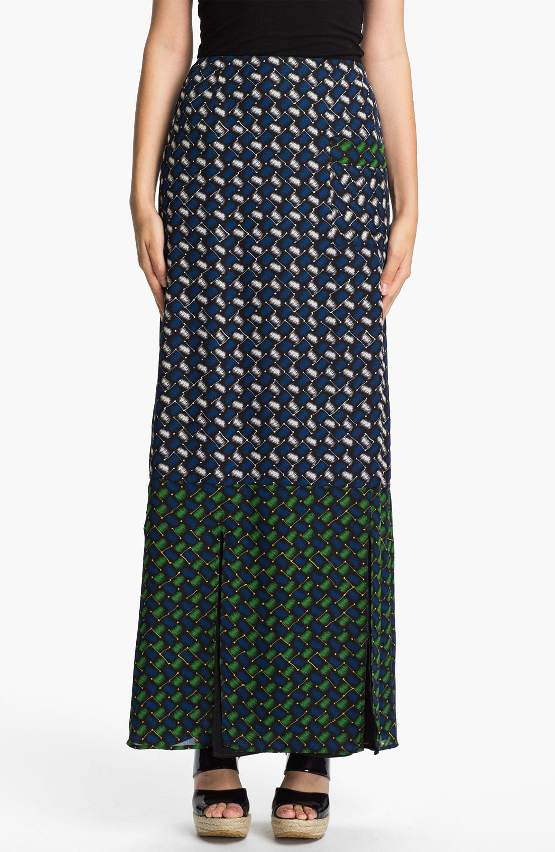 Alternate Image 1 Selected - KENZO Basket Weave Print Maxi Skirt