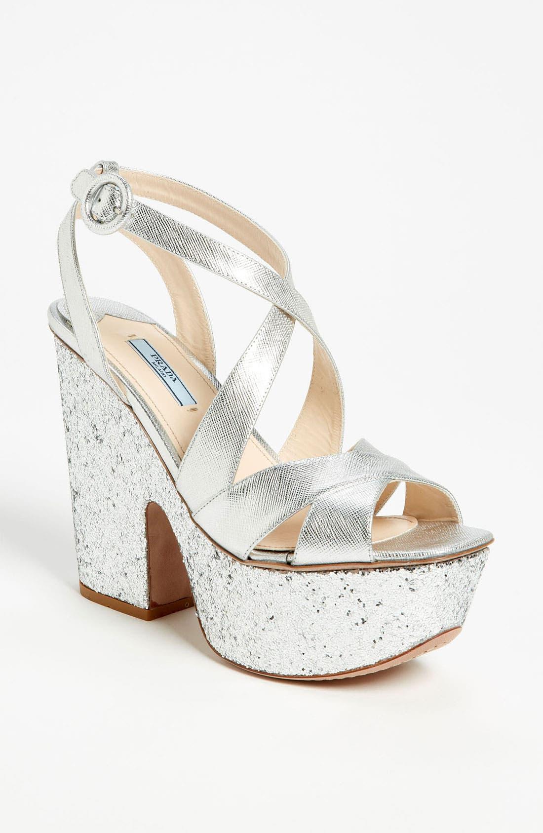 Alternate Image 1 Selected - Prada Glitter Platform Sandal