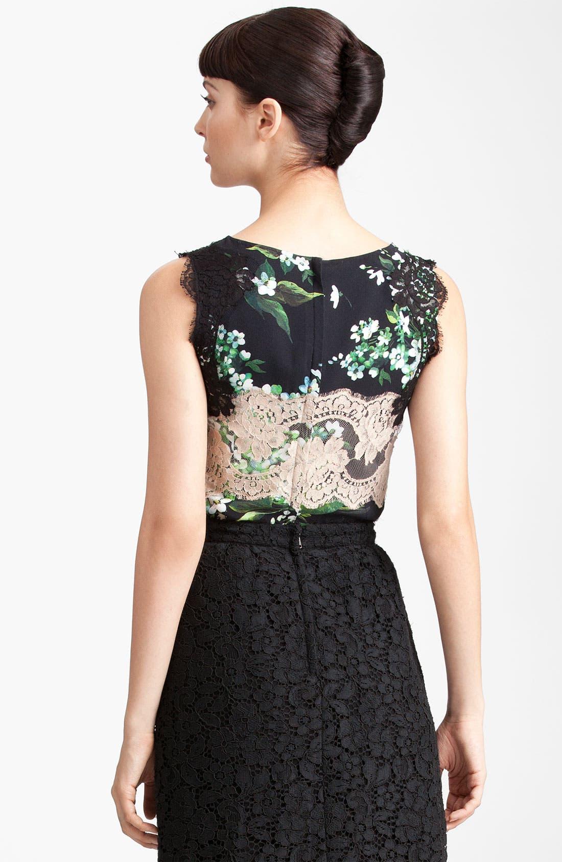 Alternate Image 2  - Dolce&Gabbana Lace & Lily Print Stretch Cady Shell
