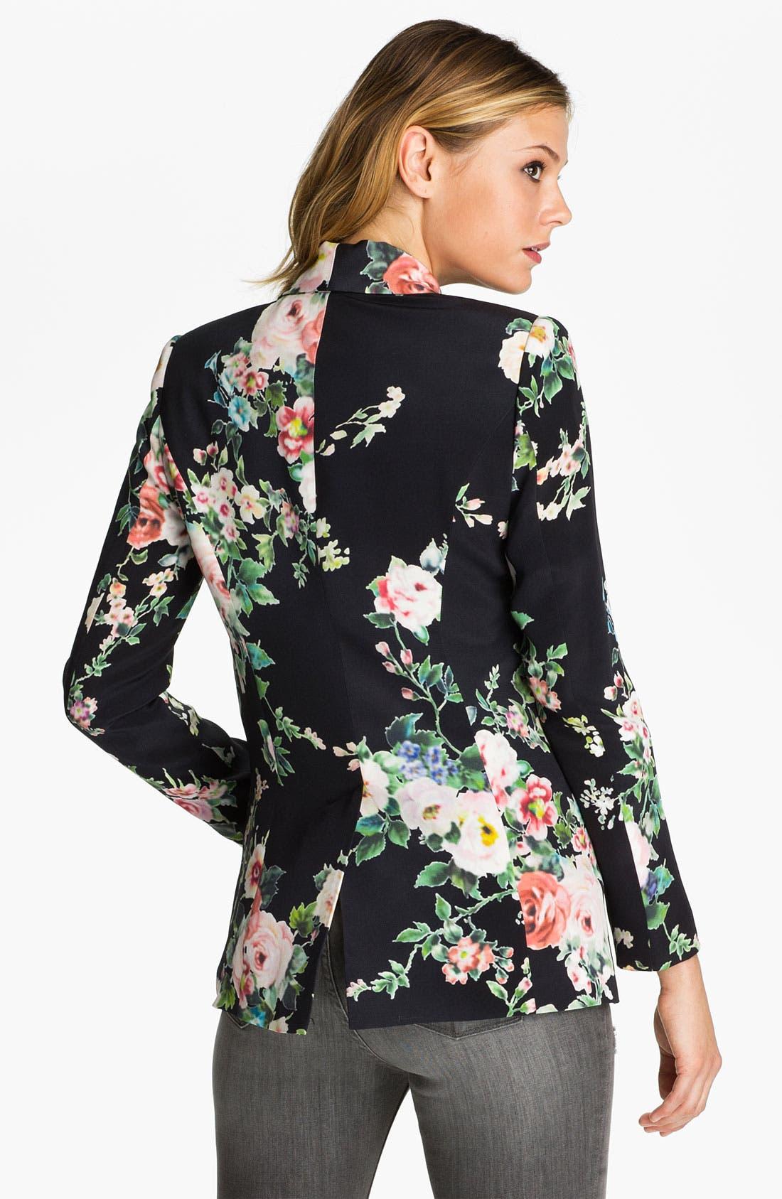 Alternate Image 2  - Truth and Pride 'Dark Vintage Rose' Print Silk Blazer