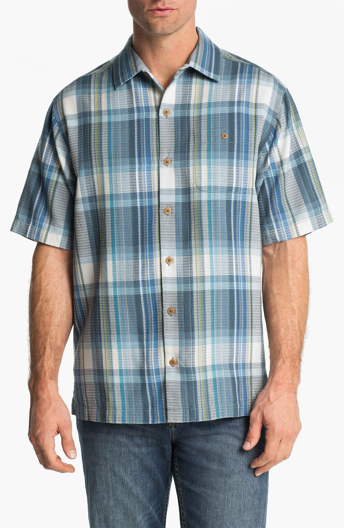 Main Image - Tommy Bahama 'Sand Plaid' Silk Campshirt