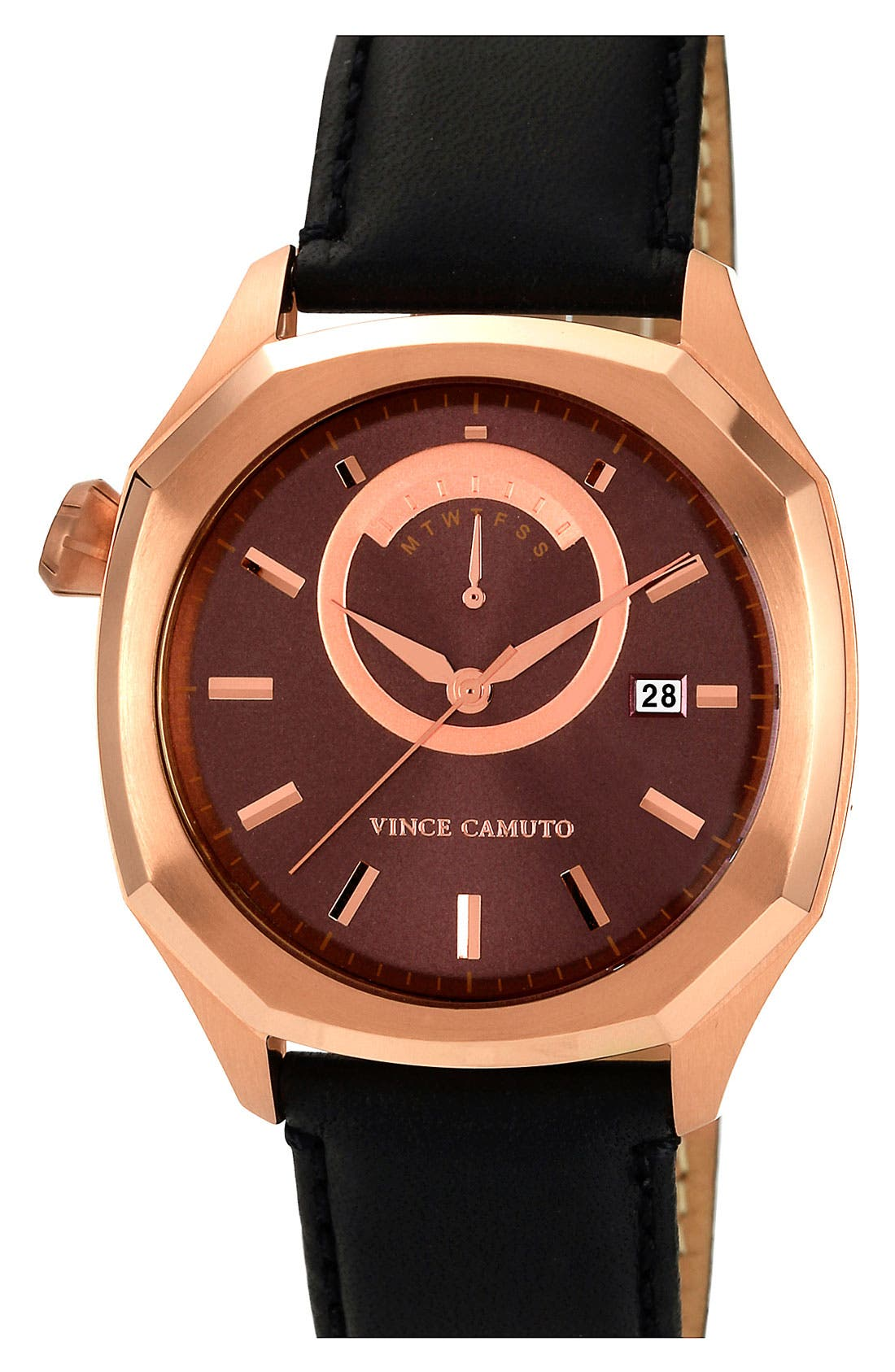 Main Image - Vince Camuto Octagonal Leather Strap Watch, 42mm