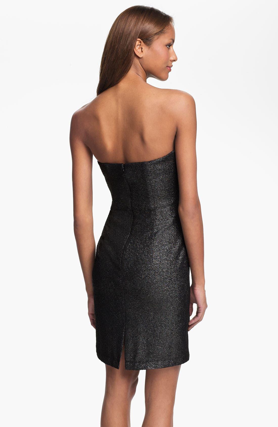 Alternate Image 2  - Vince Camuto Strapless Metallic Sheath Dress