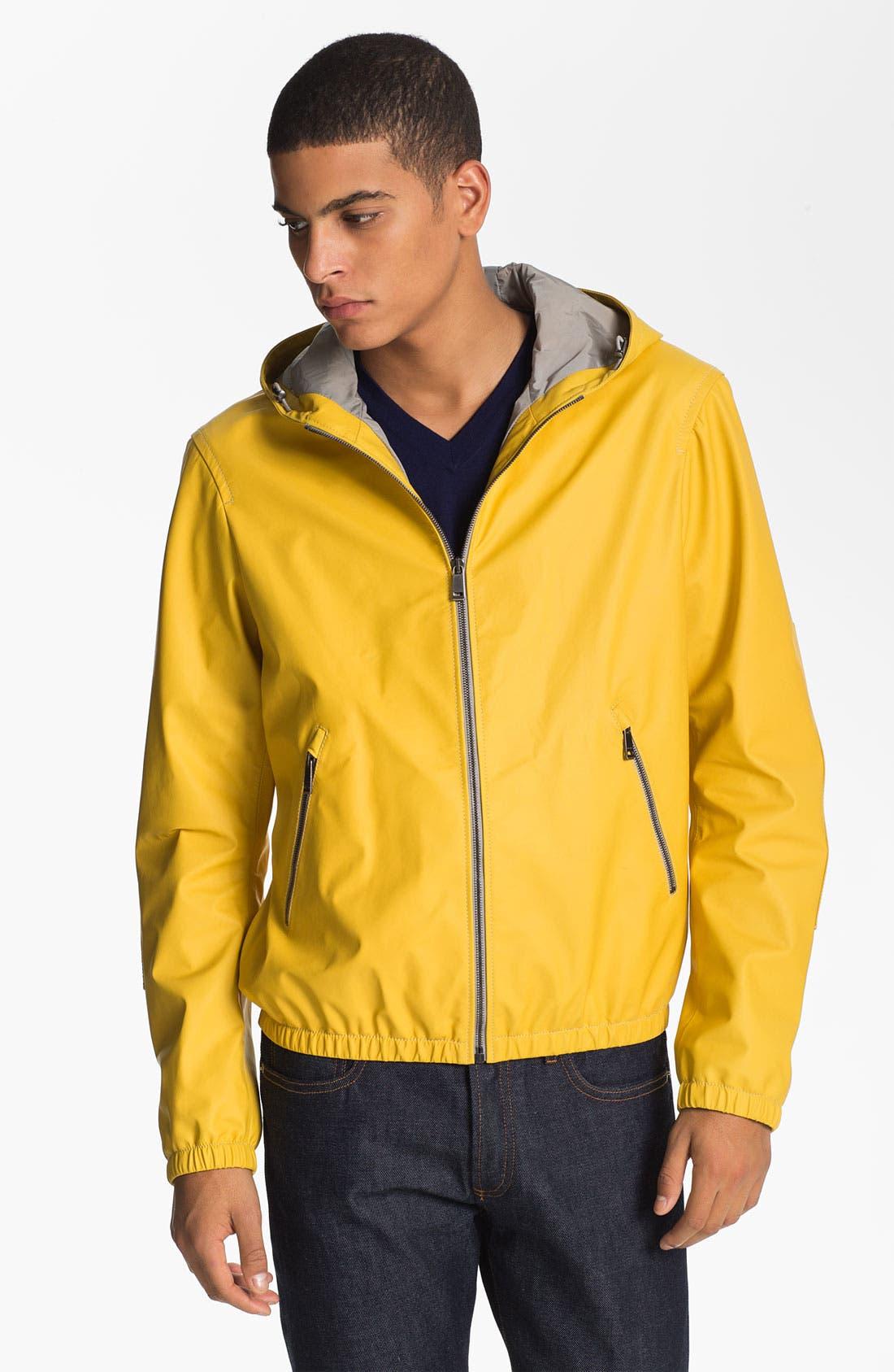 Alternate Image 1 Selected - Jil Sander Lambskin Leather Hooded Jacket