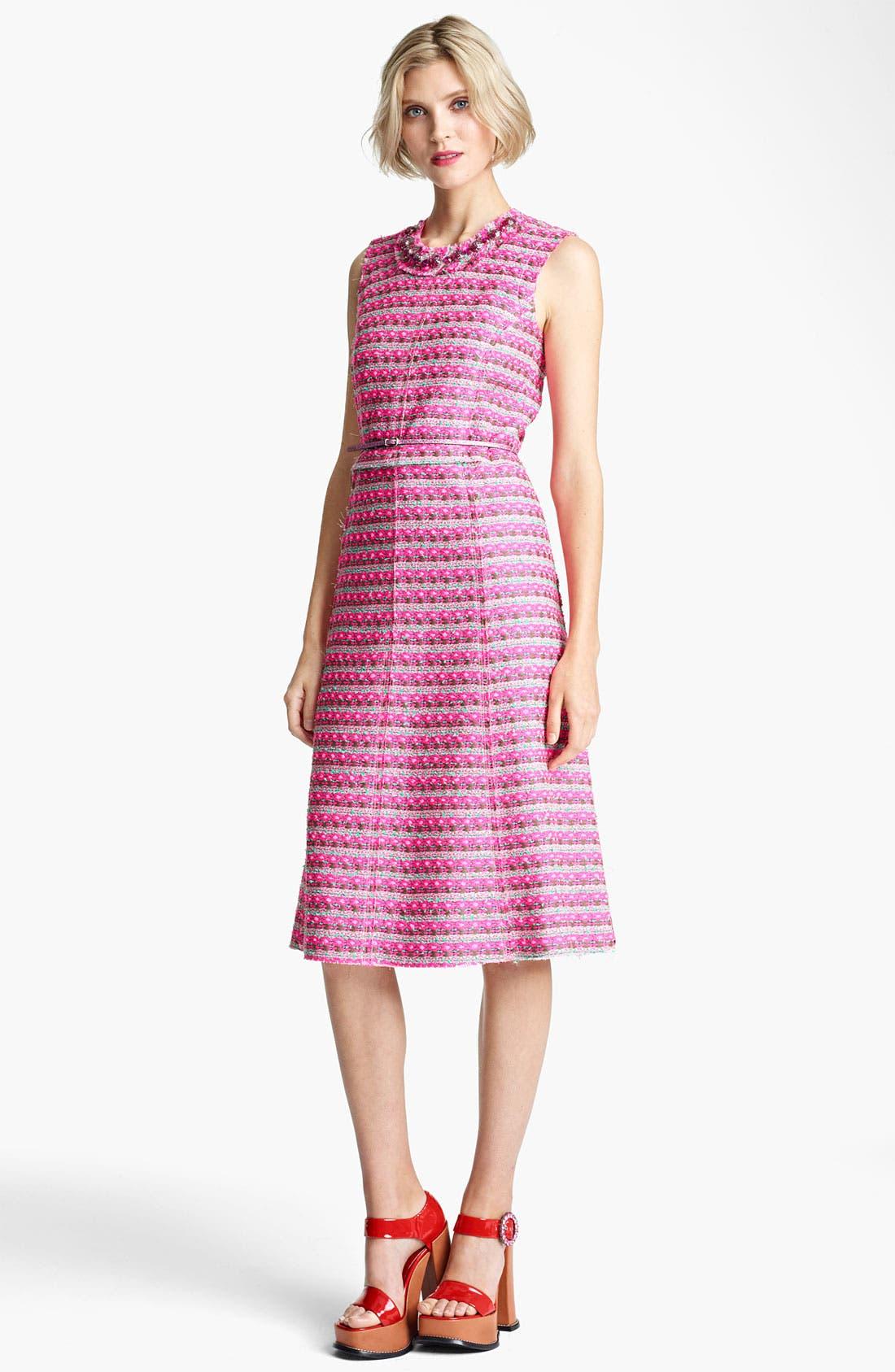 Main Image - MARC JACOBS Belted Tweed Stripe Dress