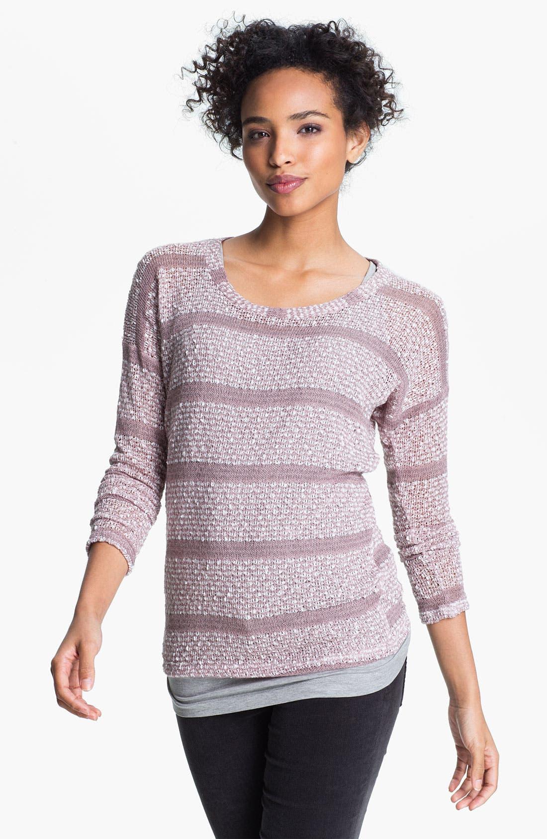 Alternate Image 1 Selected - Bobeau Drop Shoulder Stripe Sweater