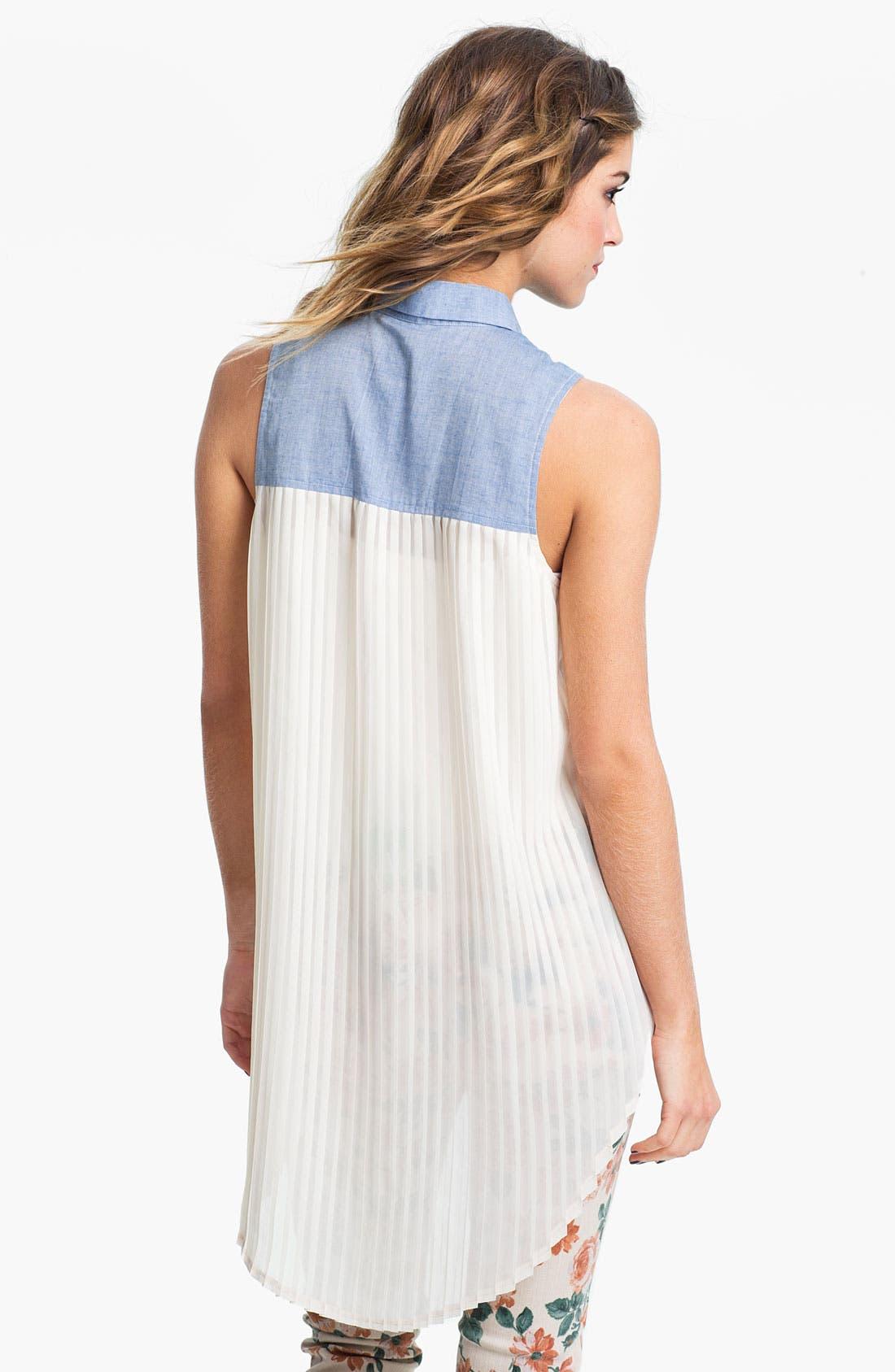 Alternate Image 2  - Lush Chambray & Chiffon Shirt (Juniors)