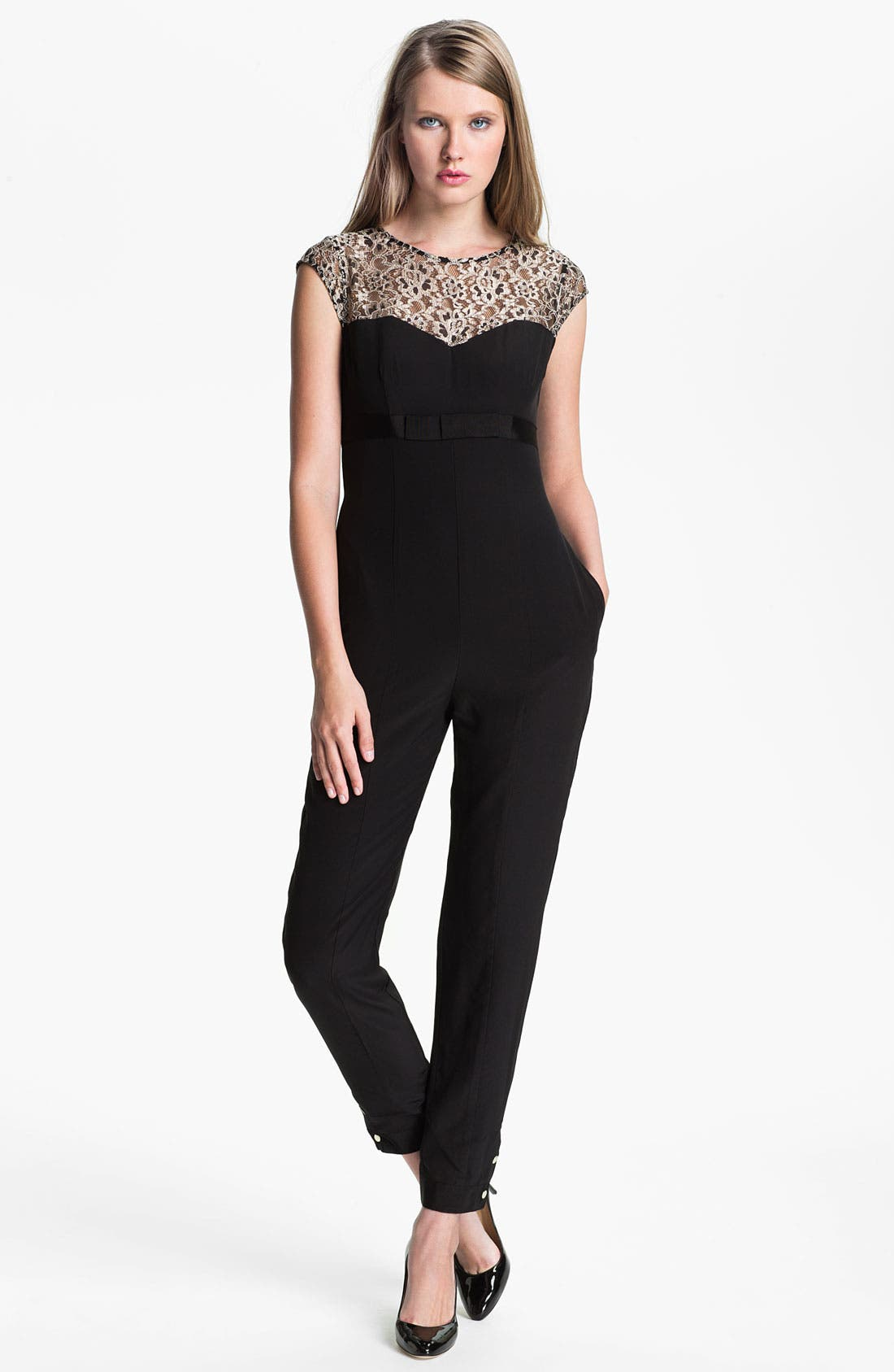 Alternate Image 1 Selected - Ted Baker London Lace & Silk Jumpsuit
