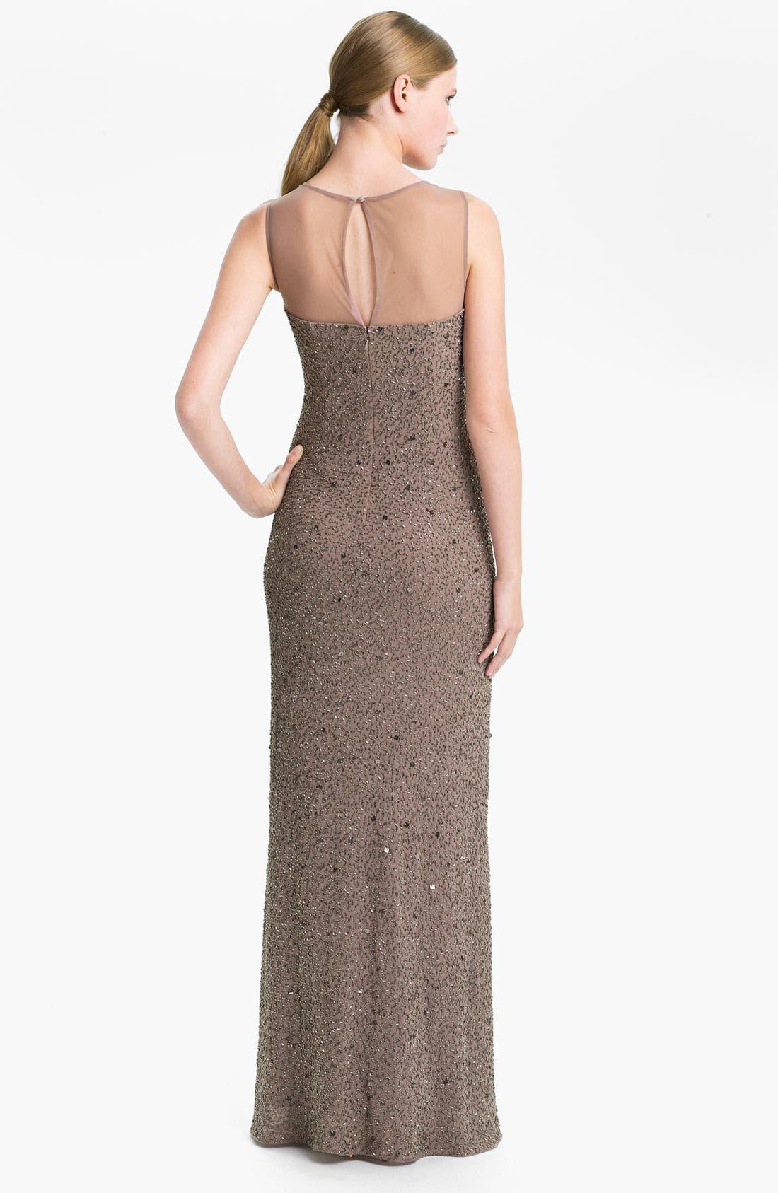 Alternate Image 2  - Adrianna Papell Illusion Yoke Embellished Chiffon Gown