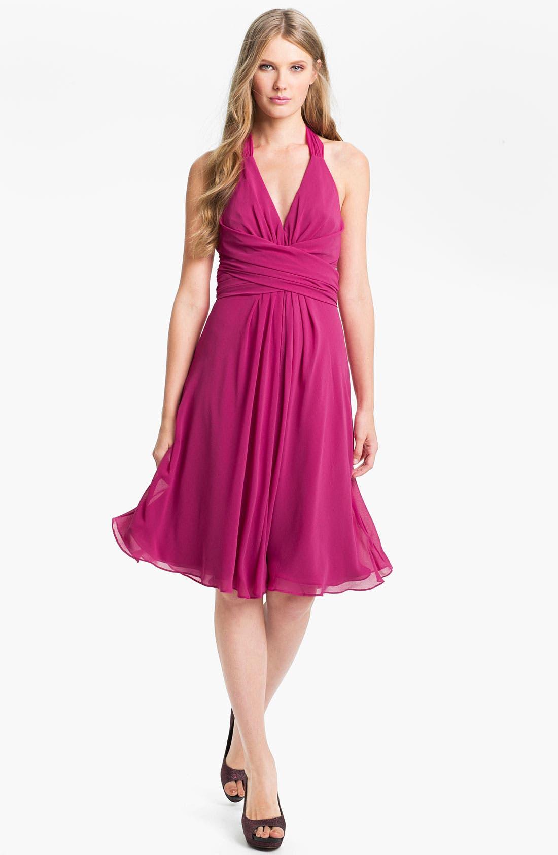 Alternate Image 1 Selected - Donna Ricco V-Neck Chiffon Halter Dress