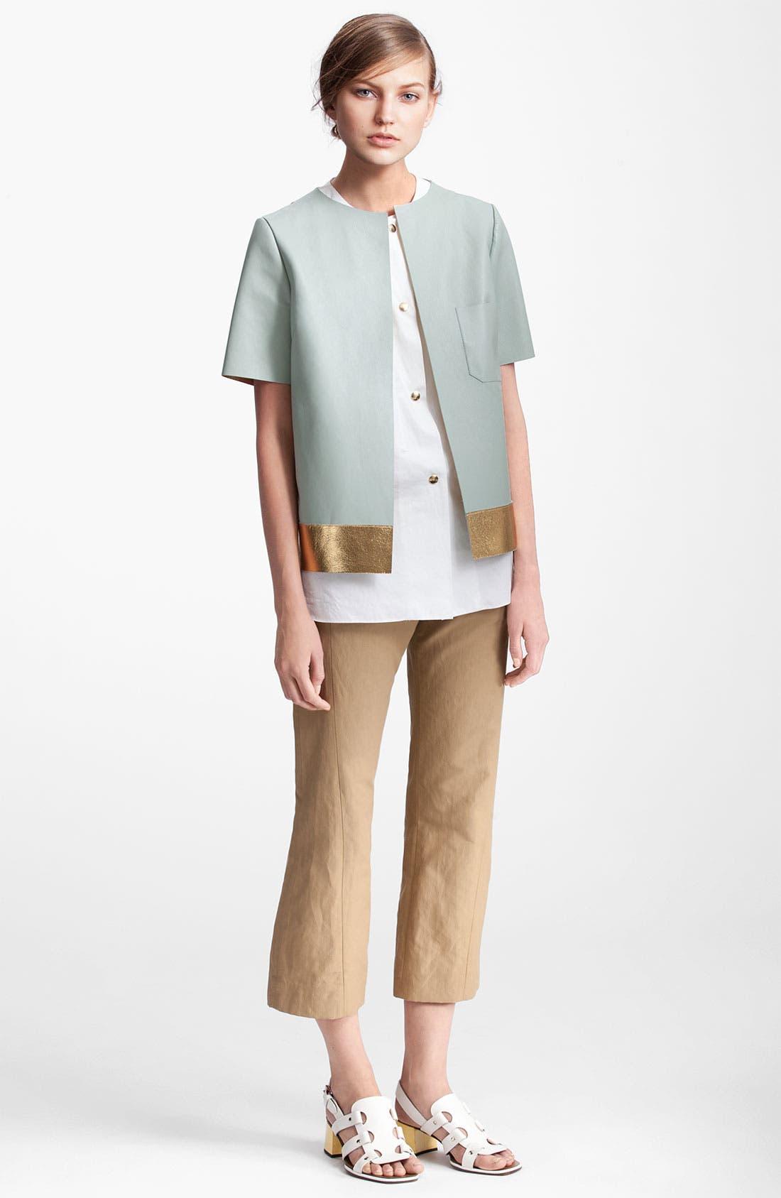 Alternate Image 1 Selected - Marni Edition Gold Trim Lambskin Leather Coat