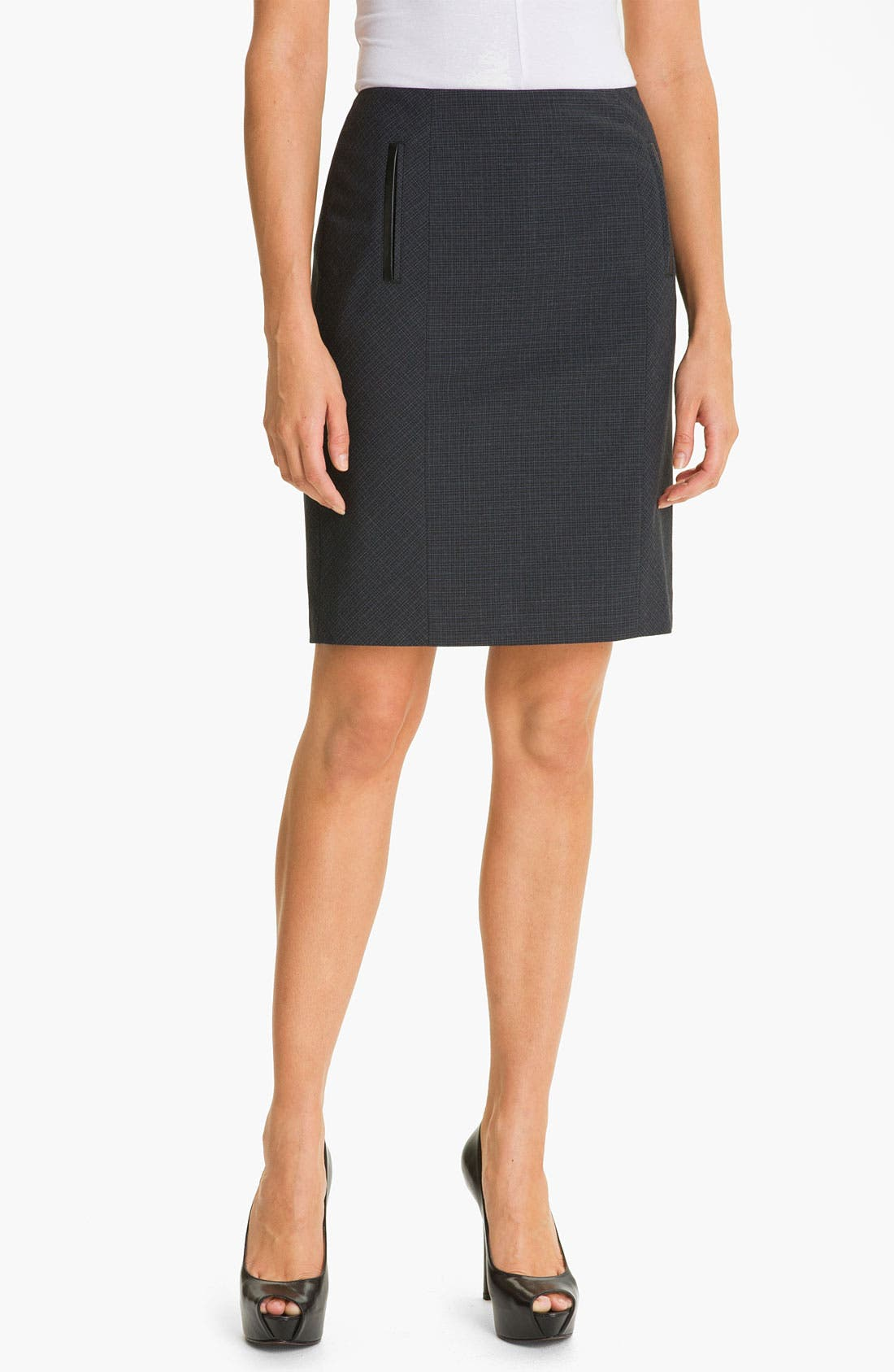Alternate Image 1 Selected - Halogen® Double Check Plaid Skirt (Petite)
