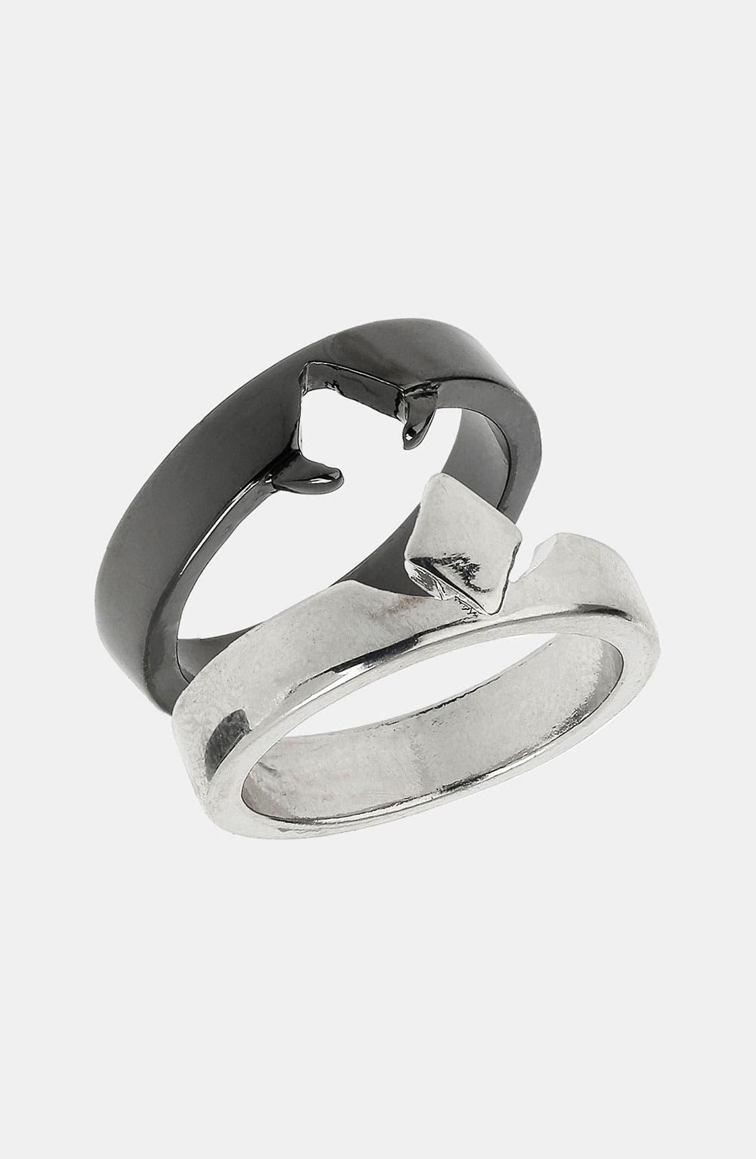 Main Image - Topman Diamond Shape Cutout Rings (Set of 2)