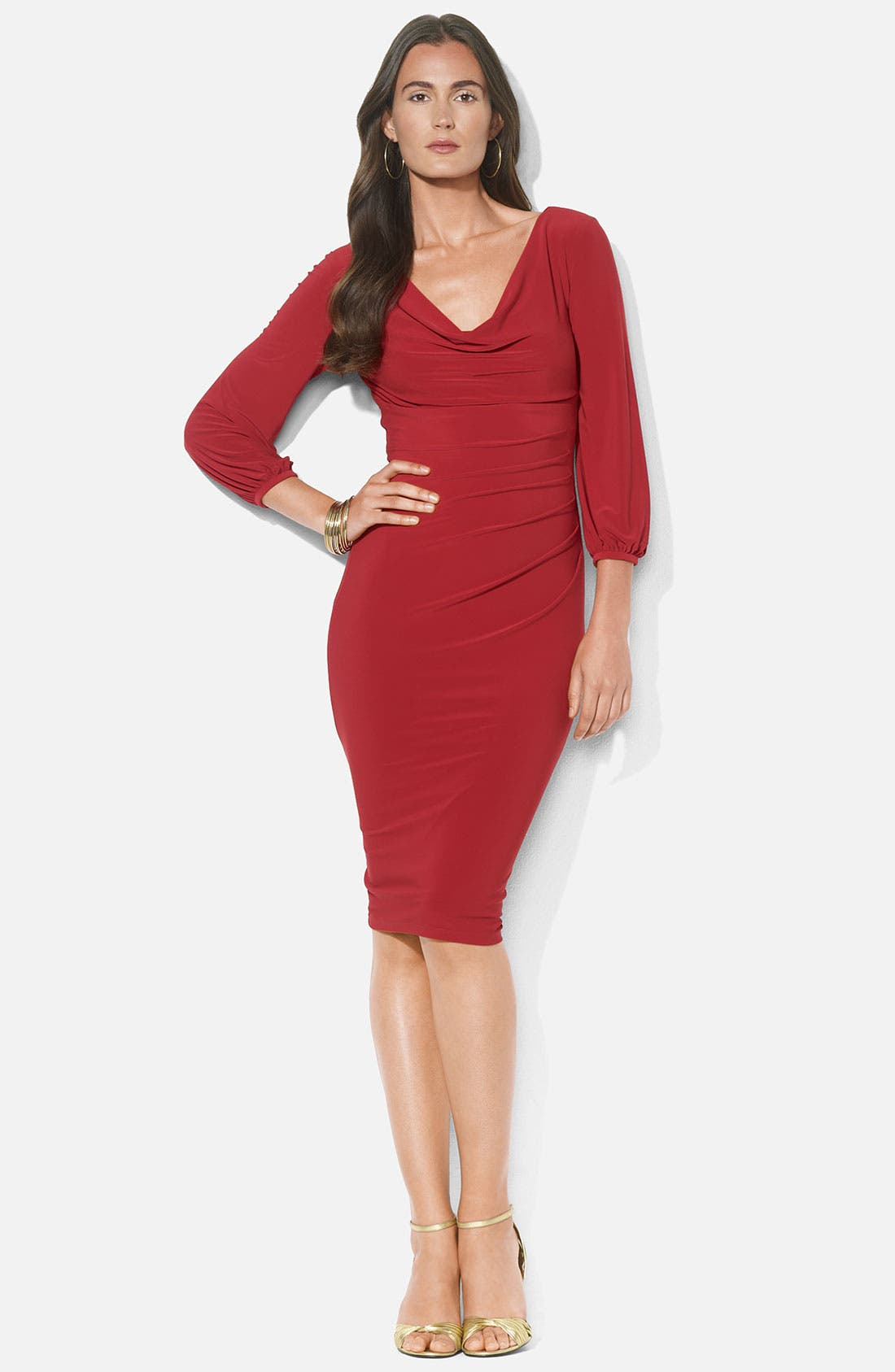Main Image - Lauren Ralph Lauren Blouson Sleeve Cowl Neck Jersey Dress