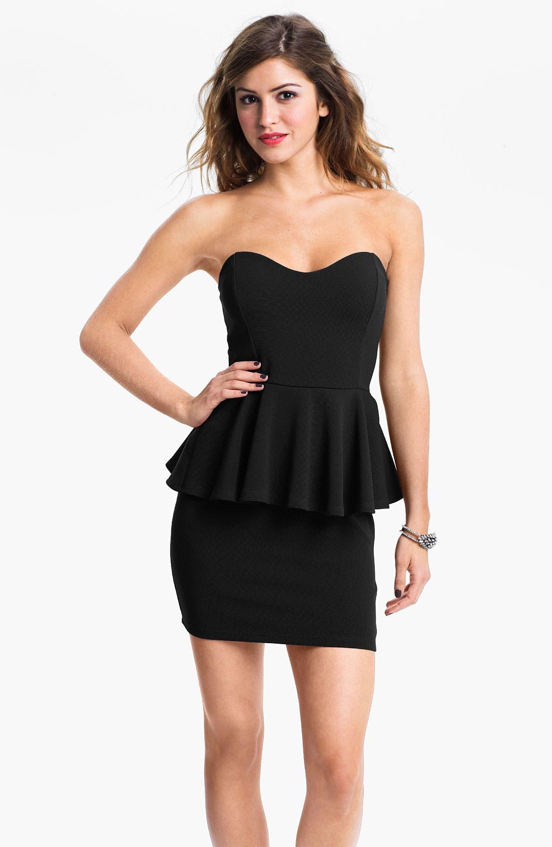 Main Image - Lush Strapless Peplum Dress (Juniors)