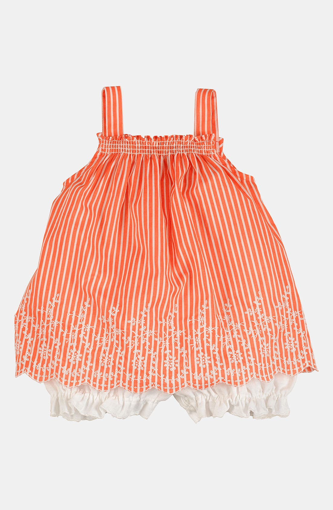 Alternate Image 1 Selected - Ralph Lauren Embroidered Bengal Stripe Tank & Bloomers (Infant)