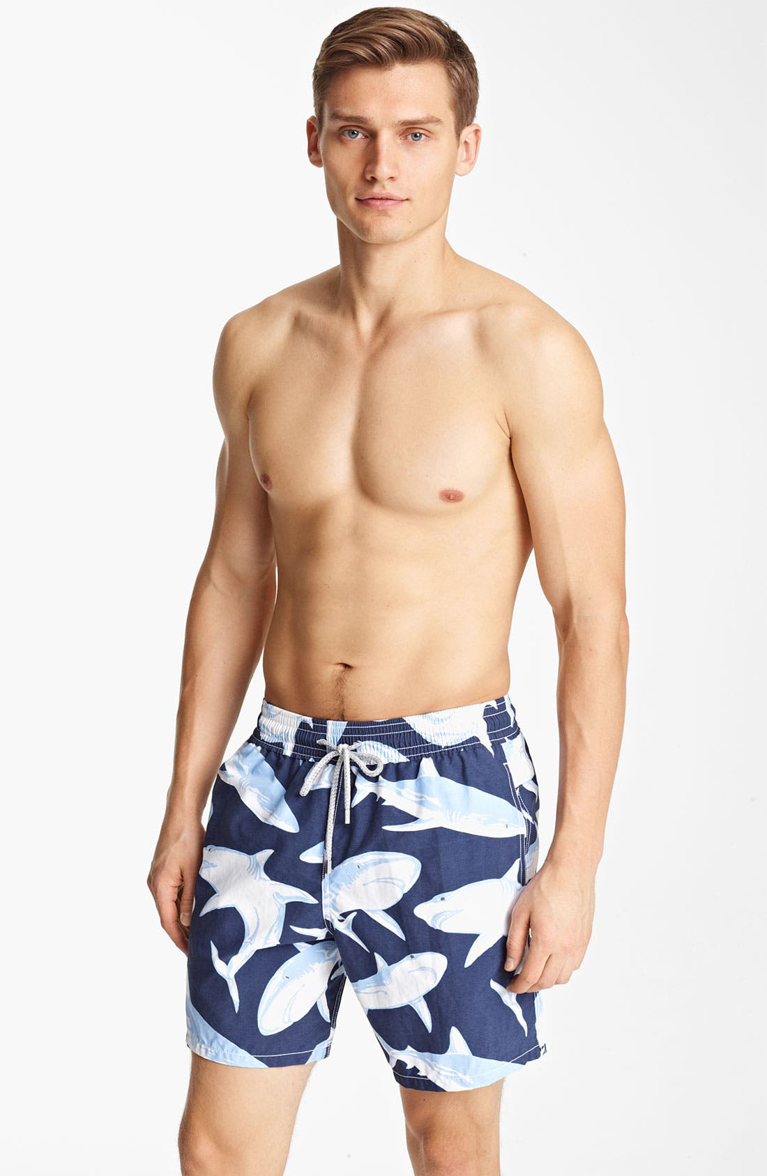 Main Image - Vilebrequin 'Moorea' Shark Print Swim Trunks