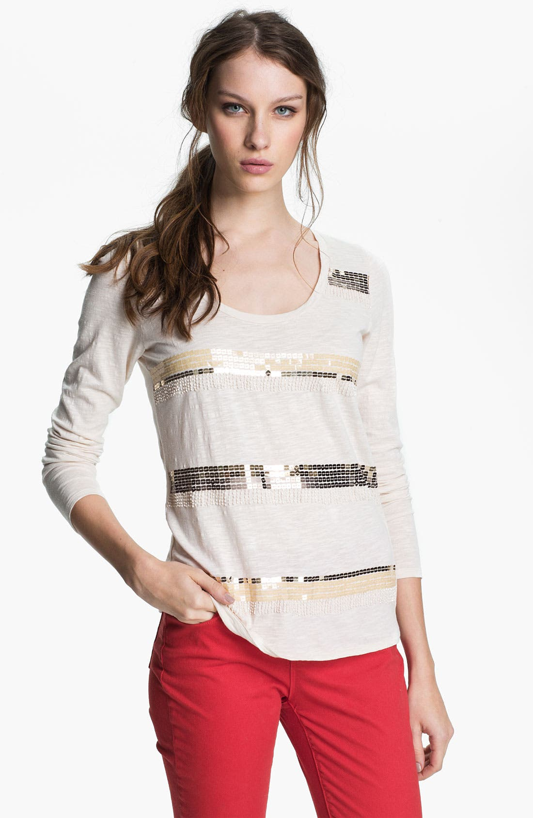 Main Image - Lucky Brand 'Mindy' Sequin Stripe Top