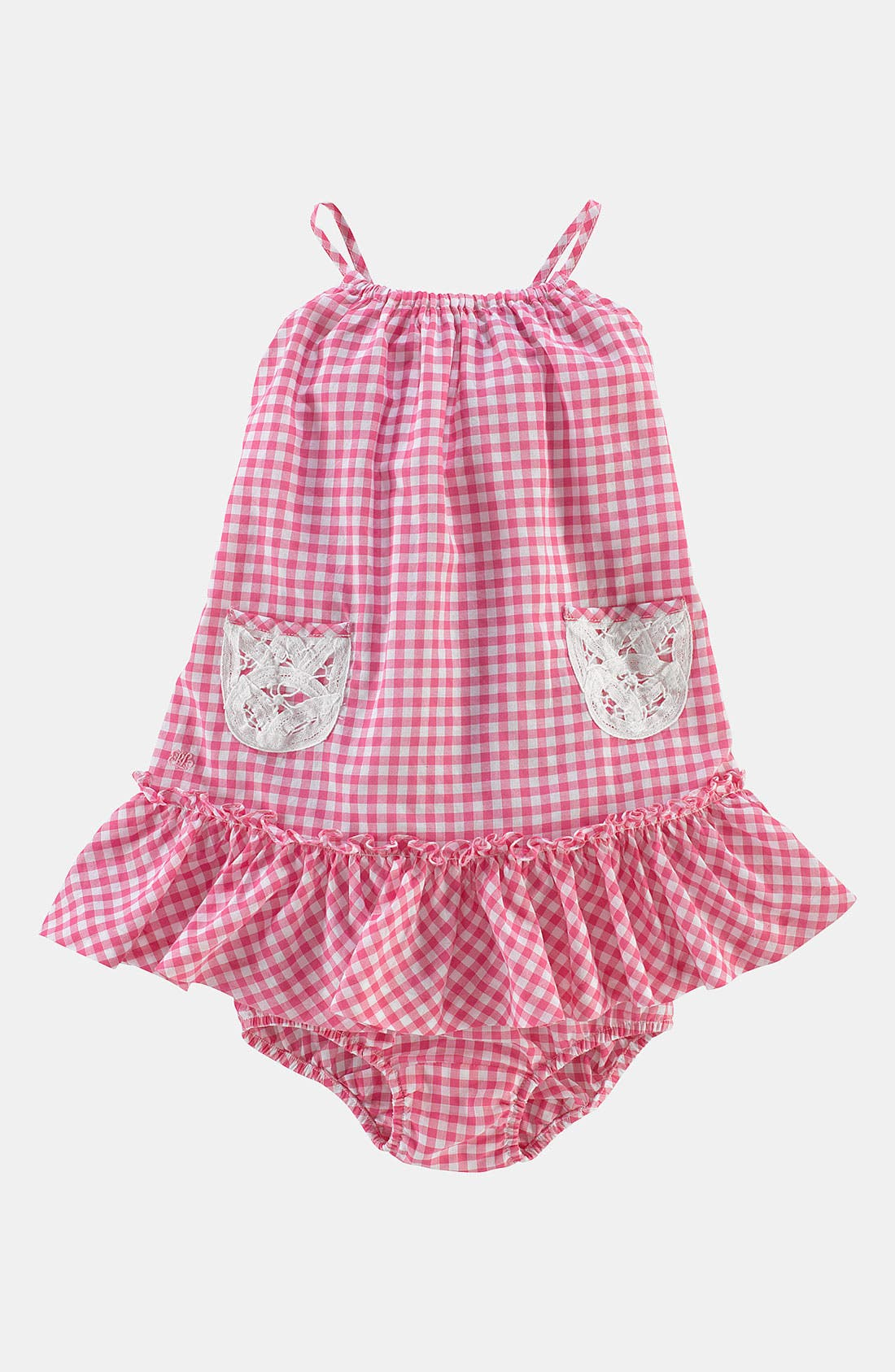 Main Image - Ralph Lauren Gingham Dress & Bloomers (Infant)
