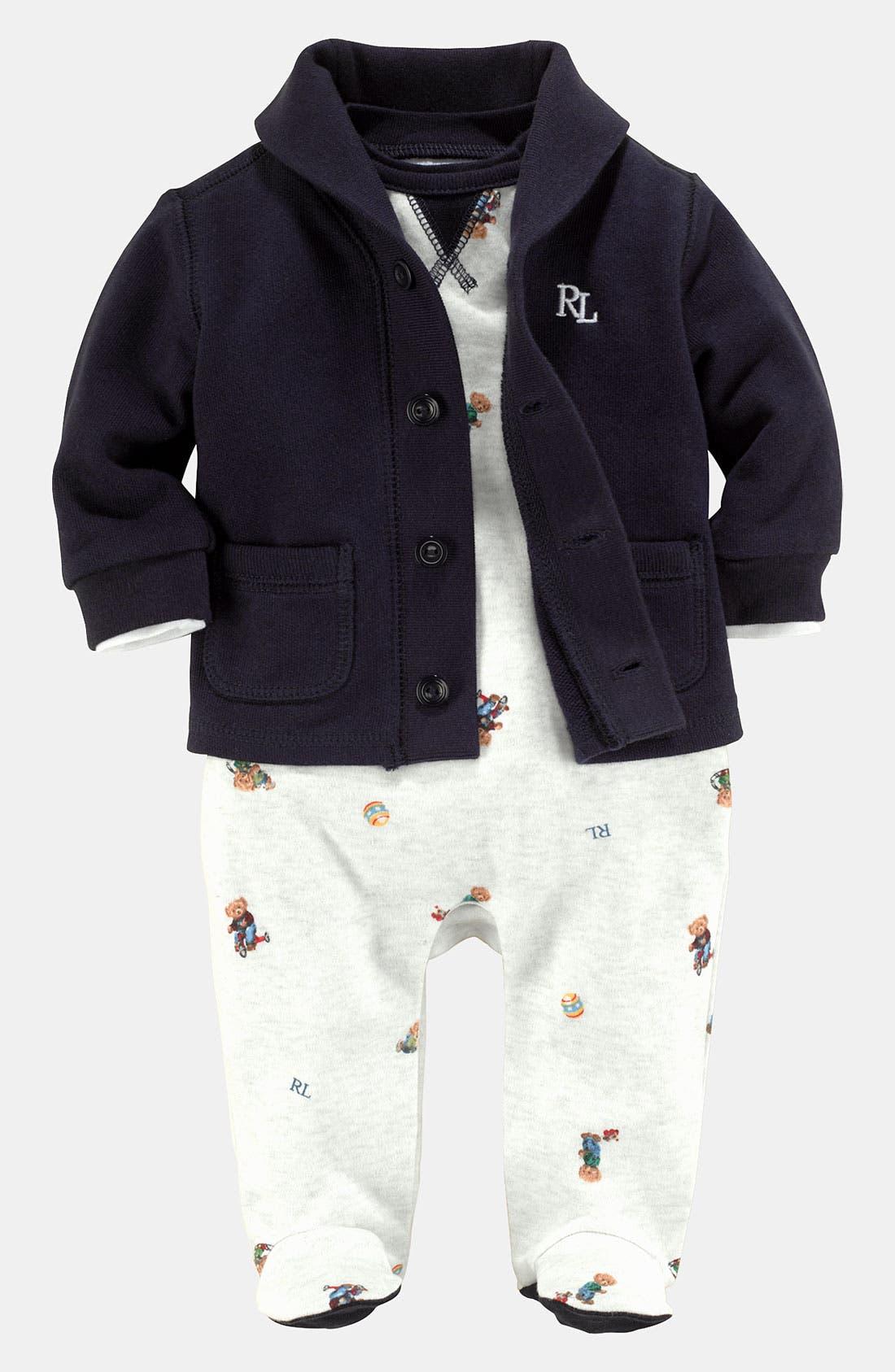 Main Image - Ralph Lauren Bodysuit, Overalls & Cardigan (Infant)