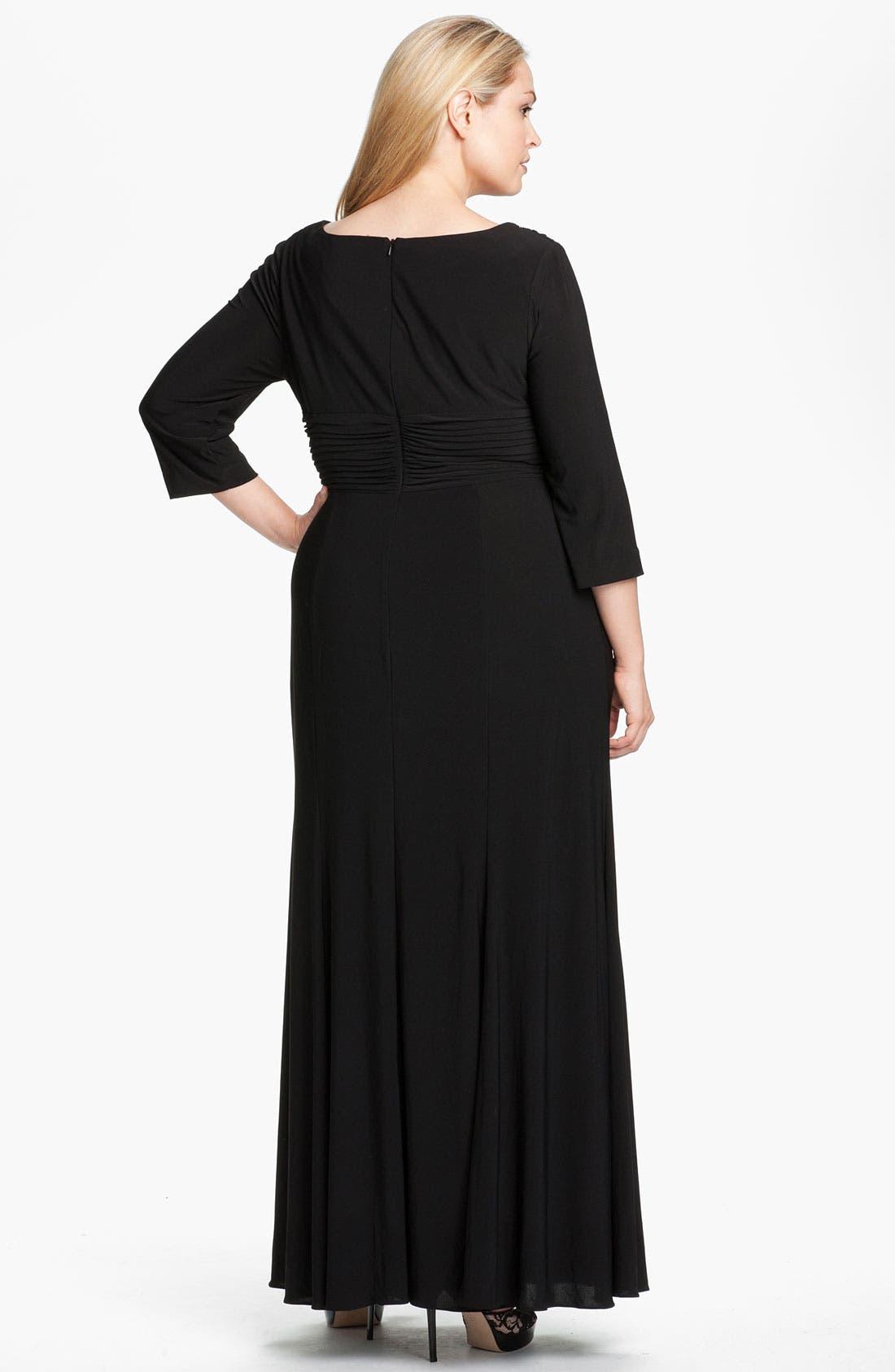 Alternate Image 2  - Alex Evenings Pleated Jersey Dress (Plus)
