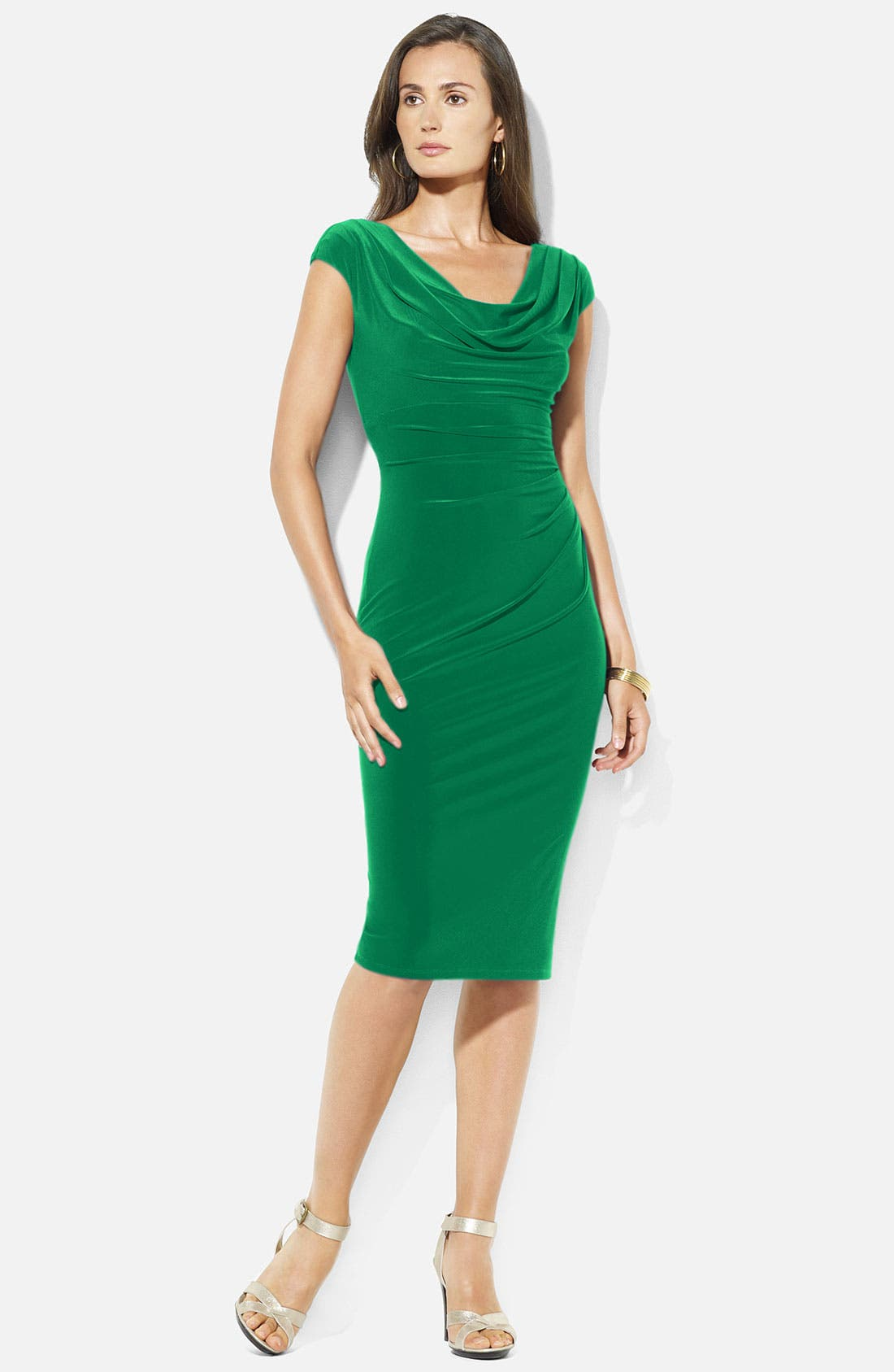 Main Image - Lauren Ralph Lauren Cowl Neck Jersey Sheath Dress