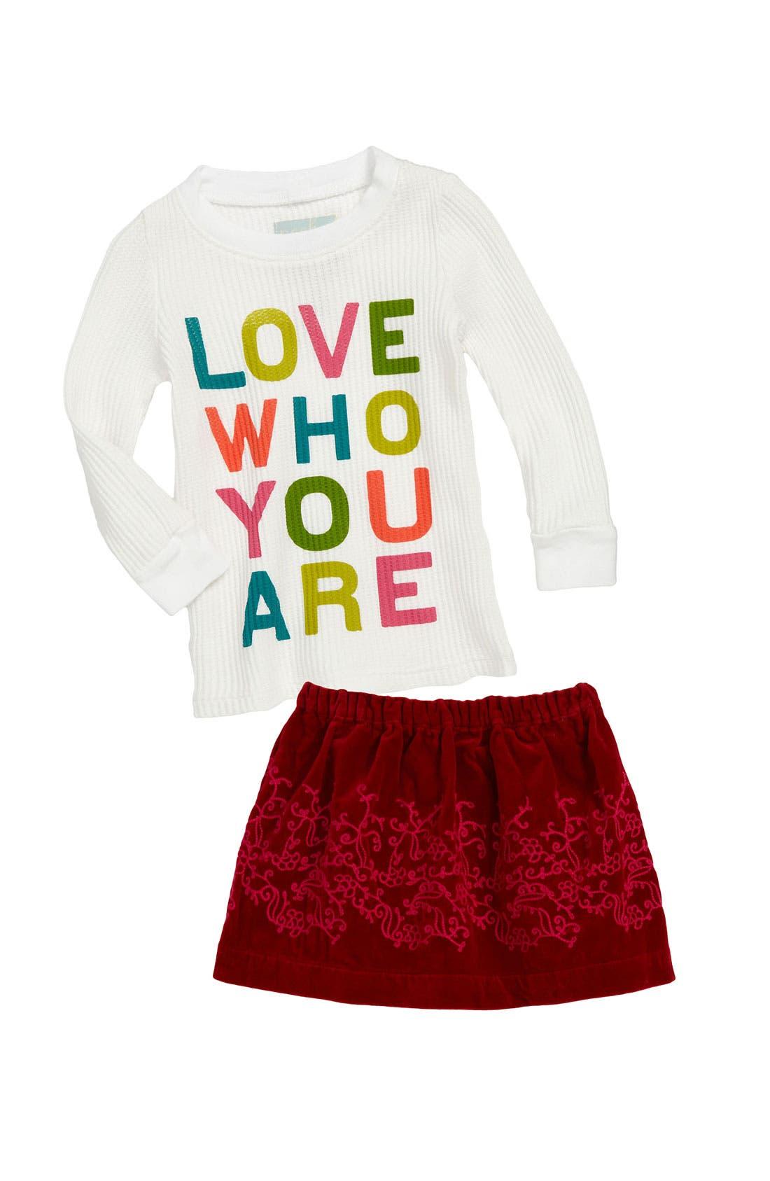 Alternate Image 1 Selected - Peek Tee & Velvet Skirt (Infant)
