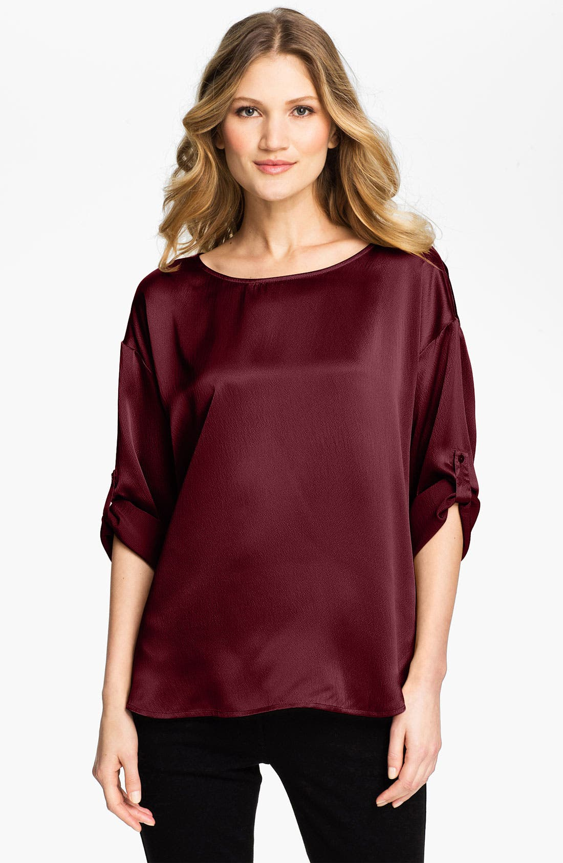 Alternate Image 1 Selected - Eileen Fisher Ballet Neck Silk Blouse (Online Exclusive)