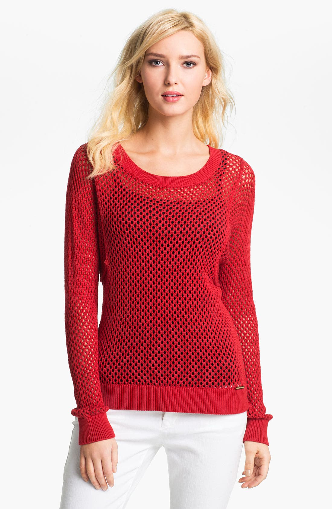 Alternate Image 1 Selected - MICHAEL Michael Kors Crewneck Mesh Sweater