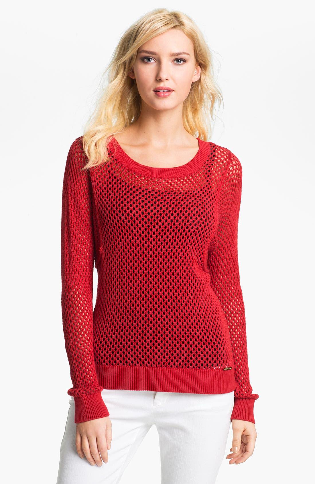 Main Image - MICHAEL Michael Kors Crewneck Mesh Sweater