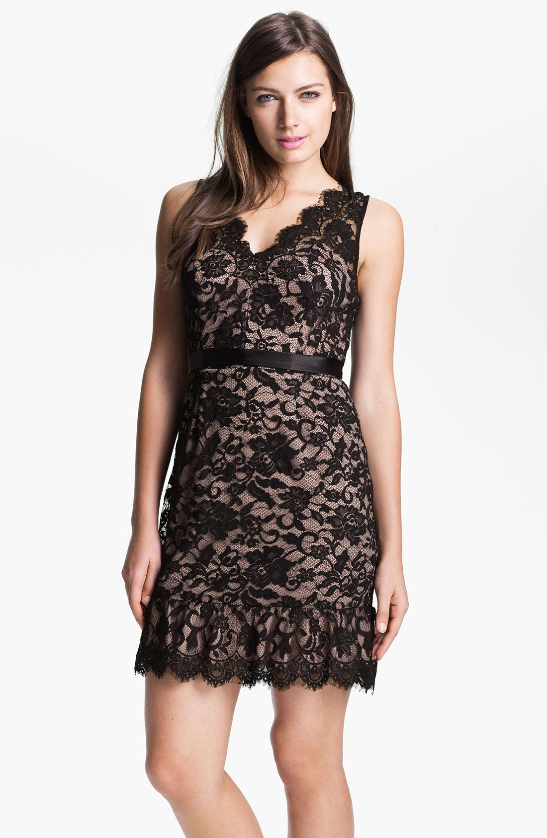 Alternate Image 1 Selected - Xscape Scalloped Trim Lace Overlay Sheath Dress