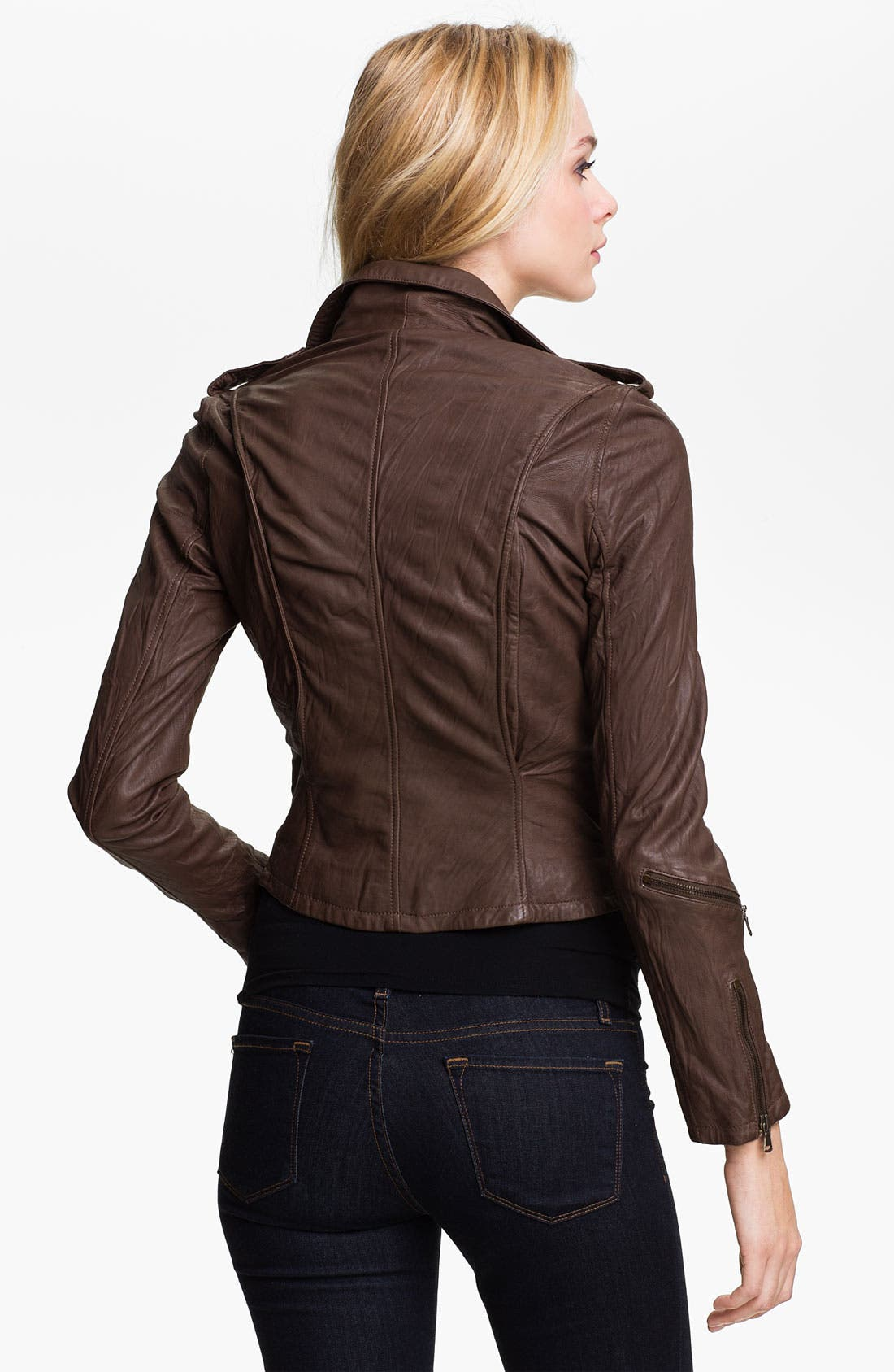 Alternate Image 2  - Kenna-T Cropped Leather Biker Jacket