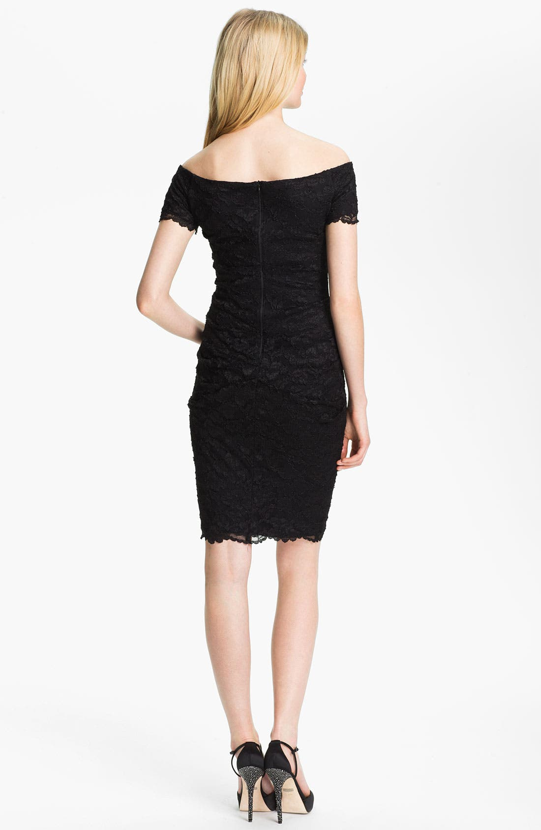 Alternate Image 2  - Betsy & Adam Square Neck Lace Overlay Sheath Dress
