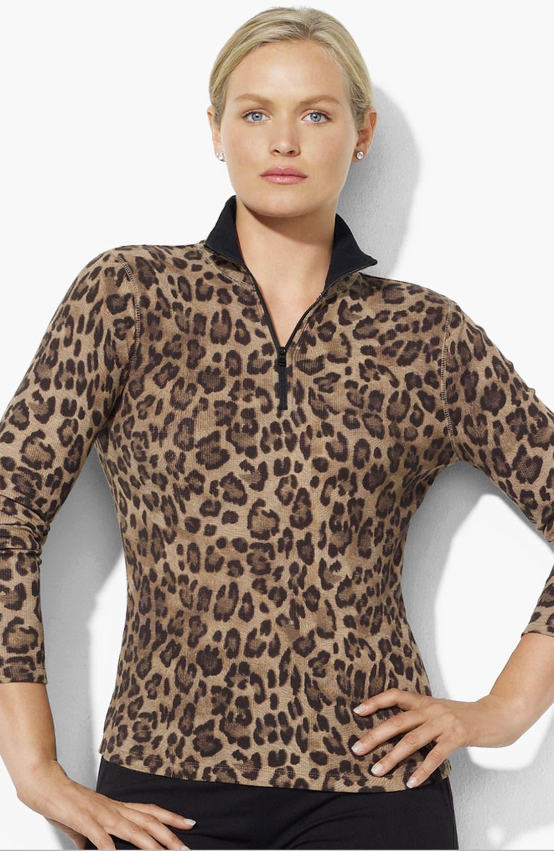 Alternate Image 1 Selected - Lauren Ralph Lauren Leopard Mock Neck Top (Plus)