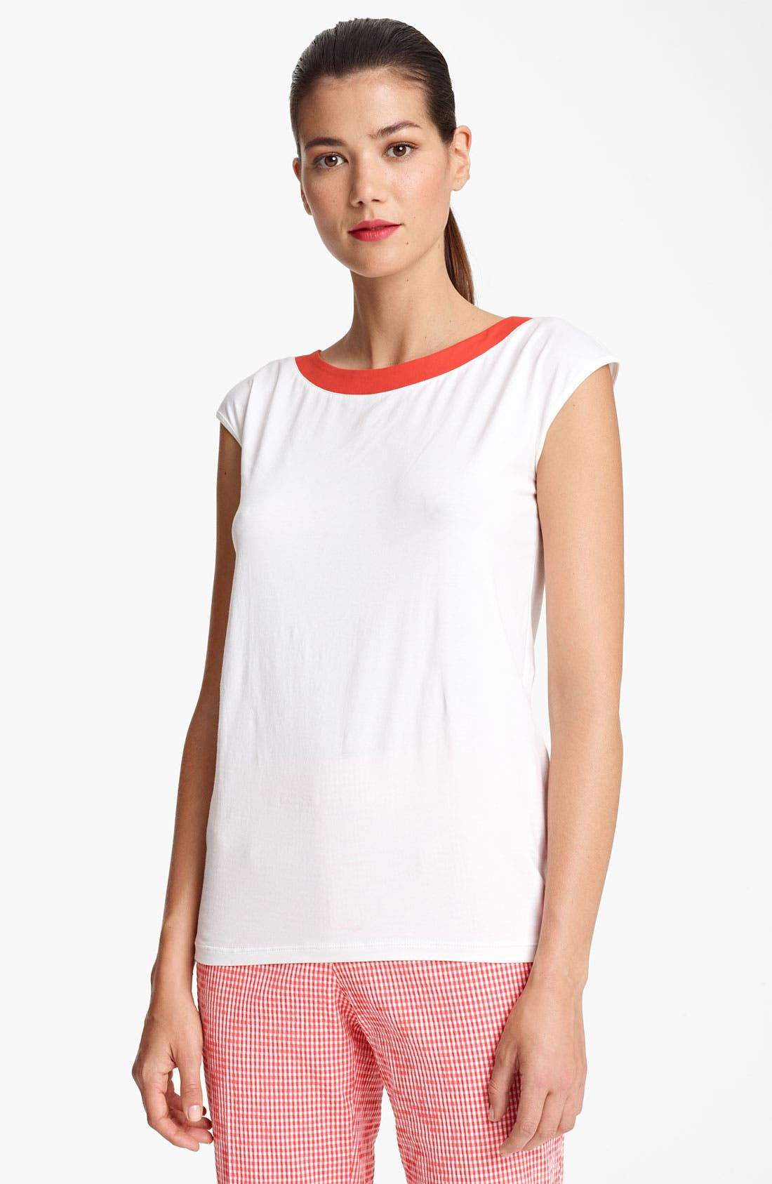 Main Image - Piazza Sempione Contrast Neck Jersey Tee