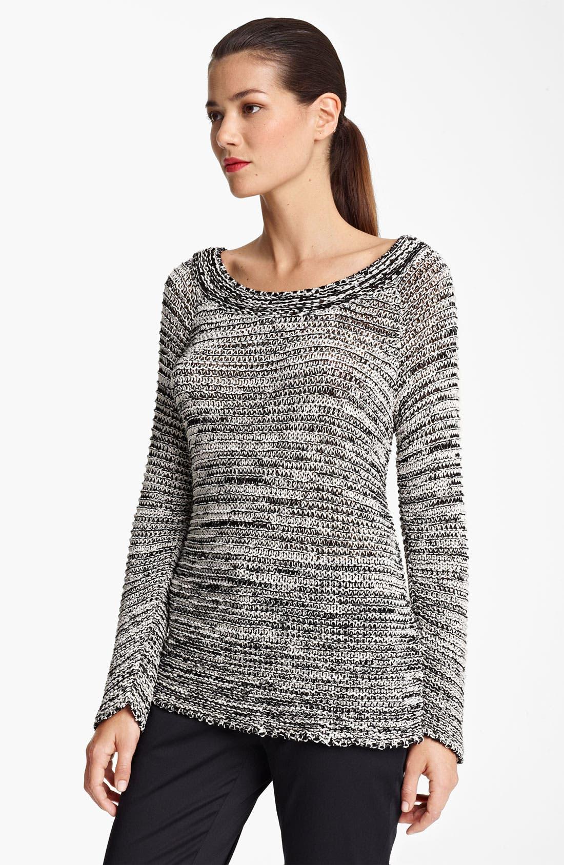 Main Image - Piazza Sempione Sequin Neckline Crochet Knit Sweater