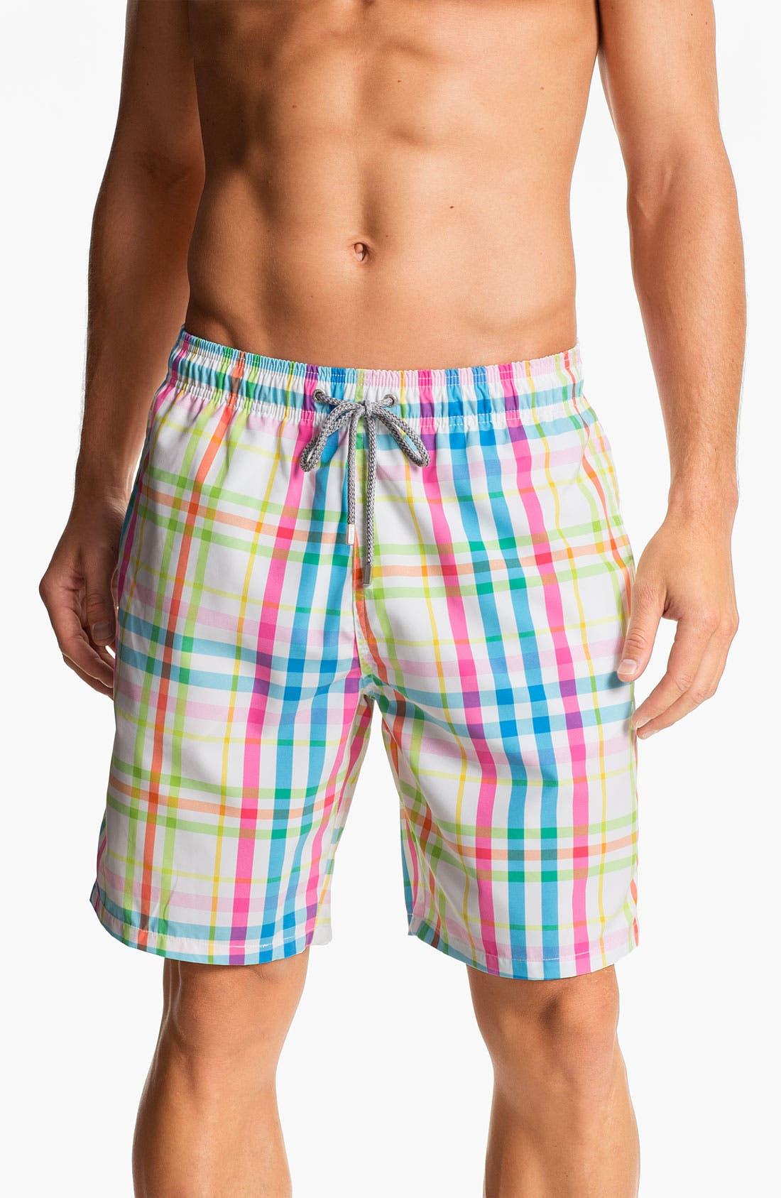 Main Image - Bugatchi Uomo Plaid Board Shorts