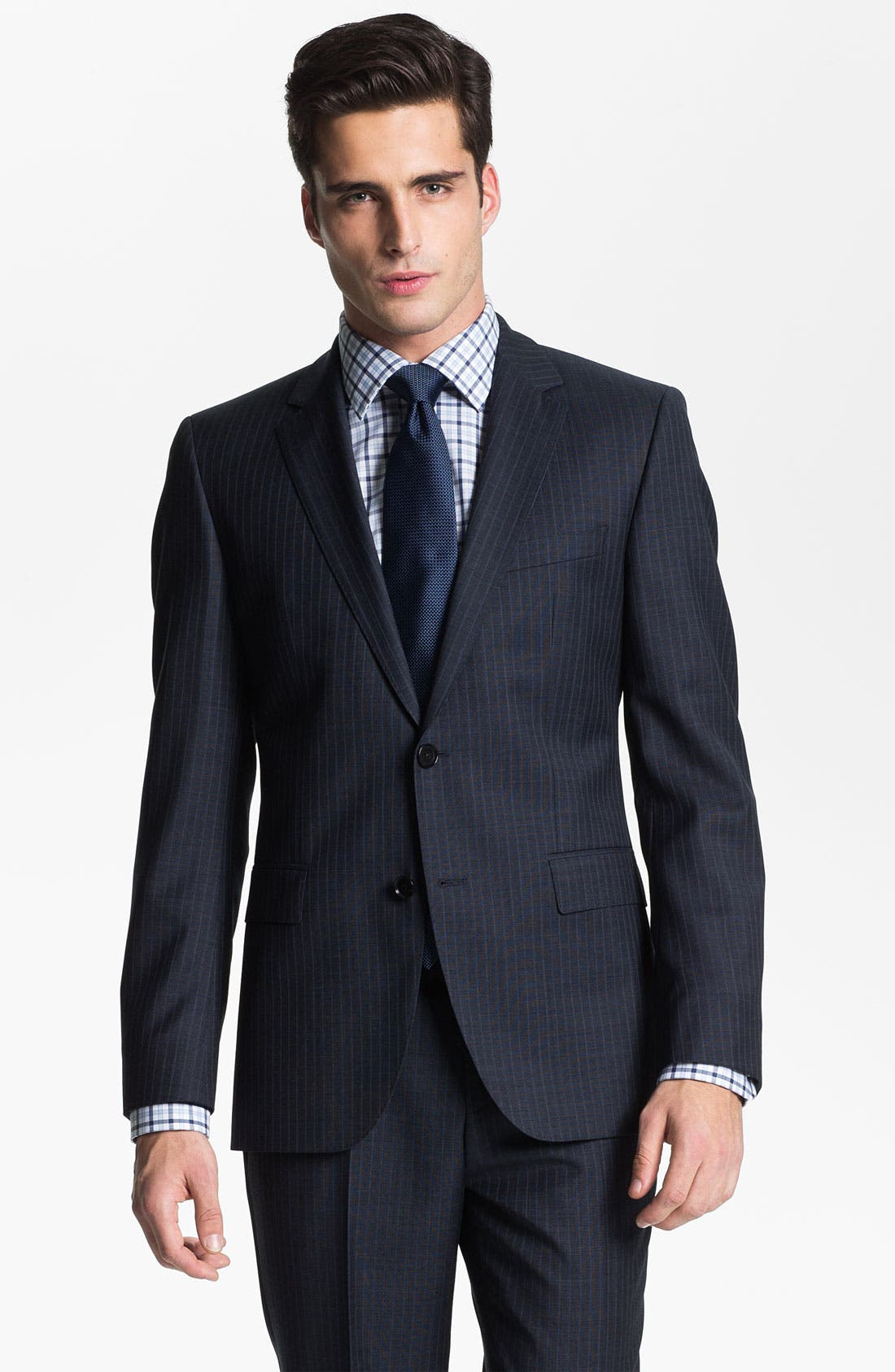 Alternate Image 1 Selected - BOSS Black 'James/Sharp' Trim Fit Stripe Suit