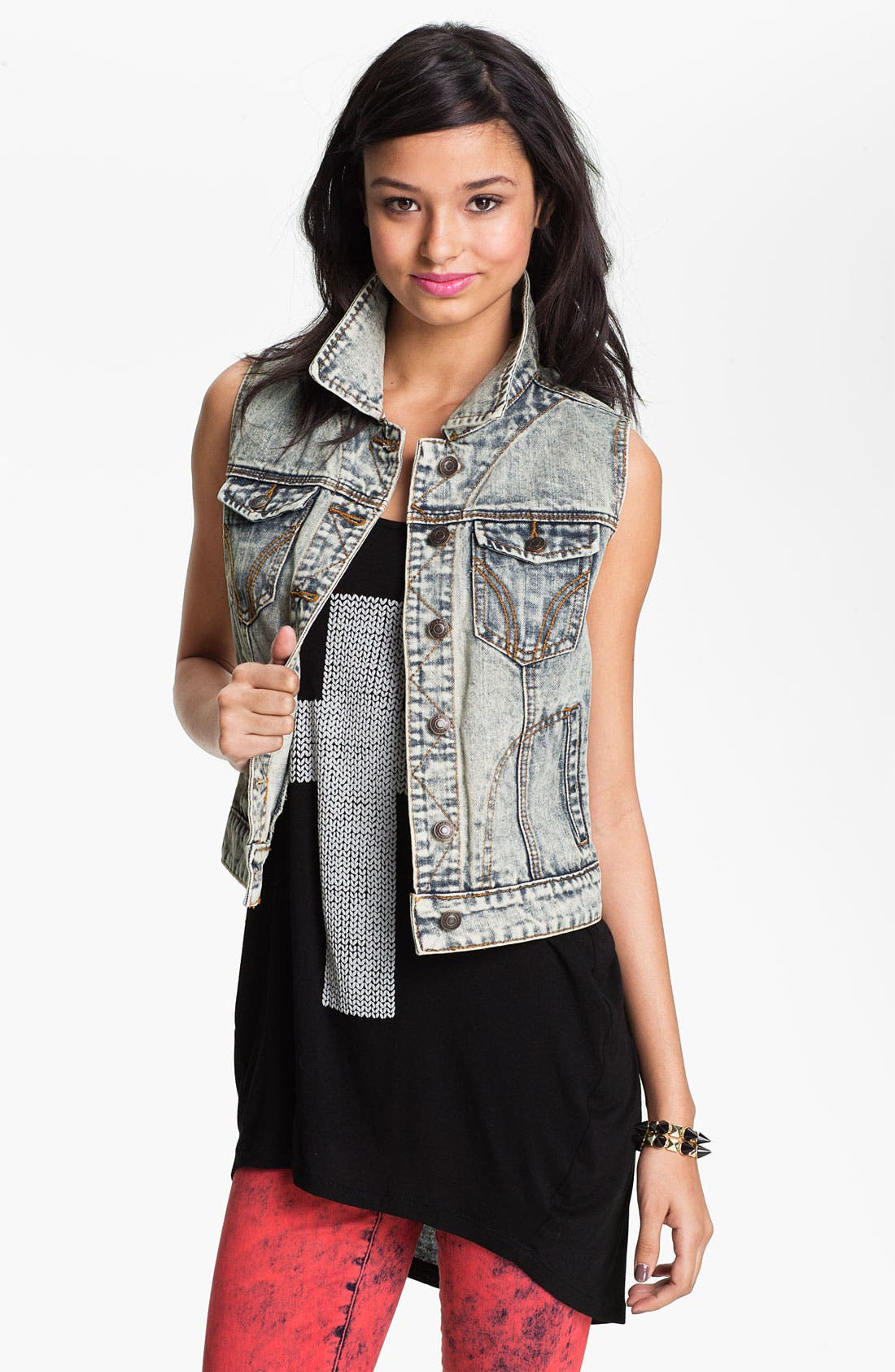 Alternate Image 1 Selected - Thread & Supply Acid Wash Denim Vest (Juniors)