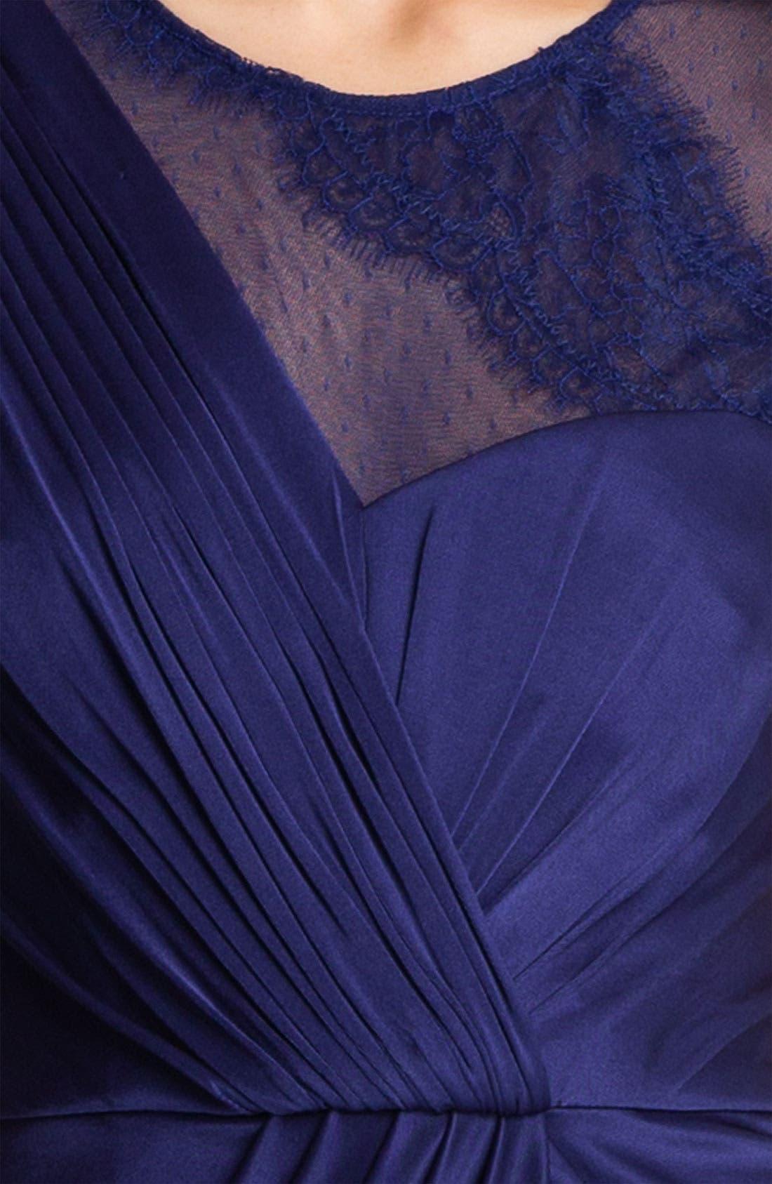 Alternate Image 3  - BCBGMAXAZRIA Lace Sleeve Gathered Jersey Dress