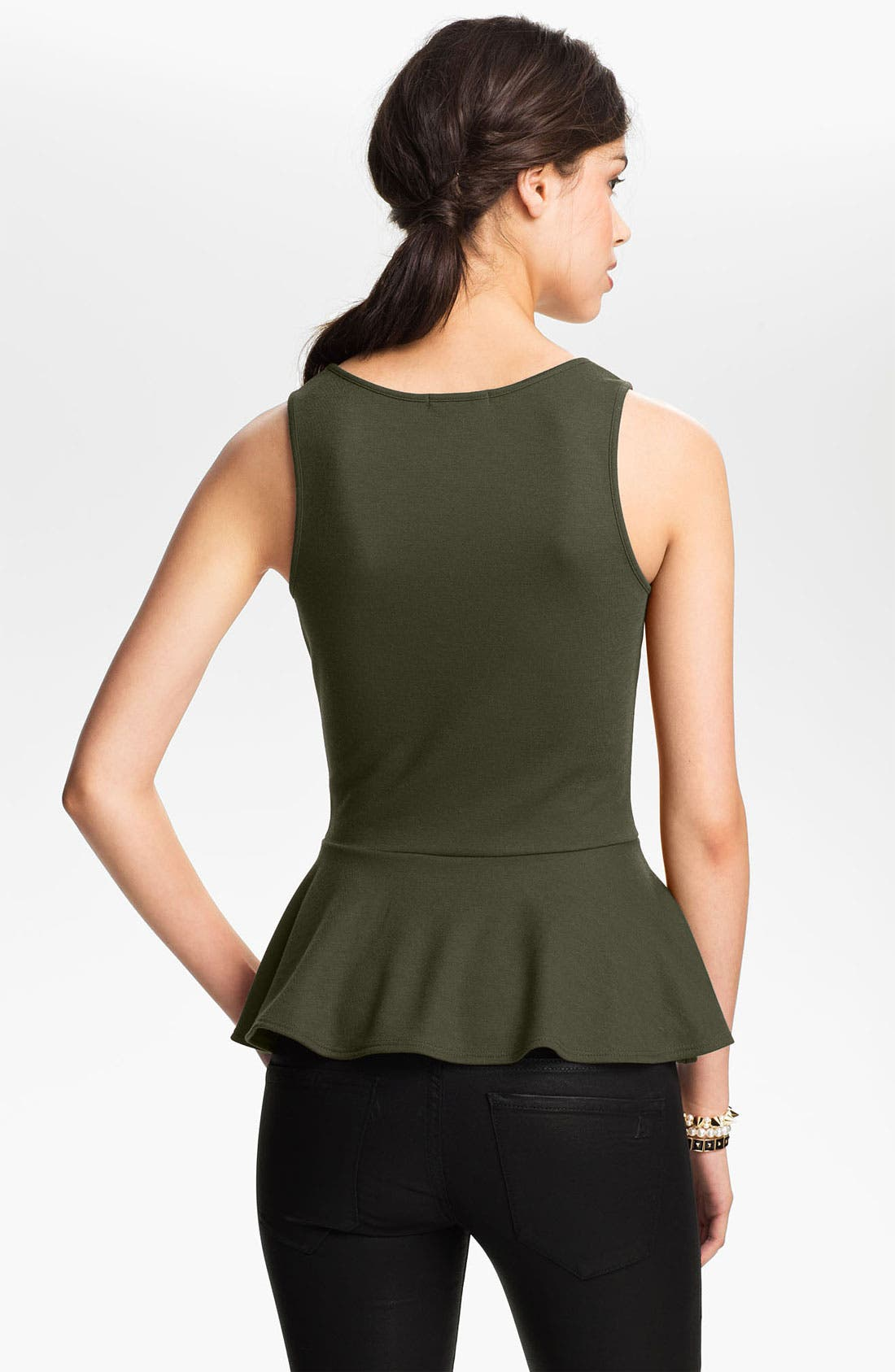 Alternate Image 2  - Soprano Ponte Knit Peplum Top (Juniors)
